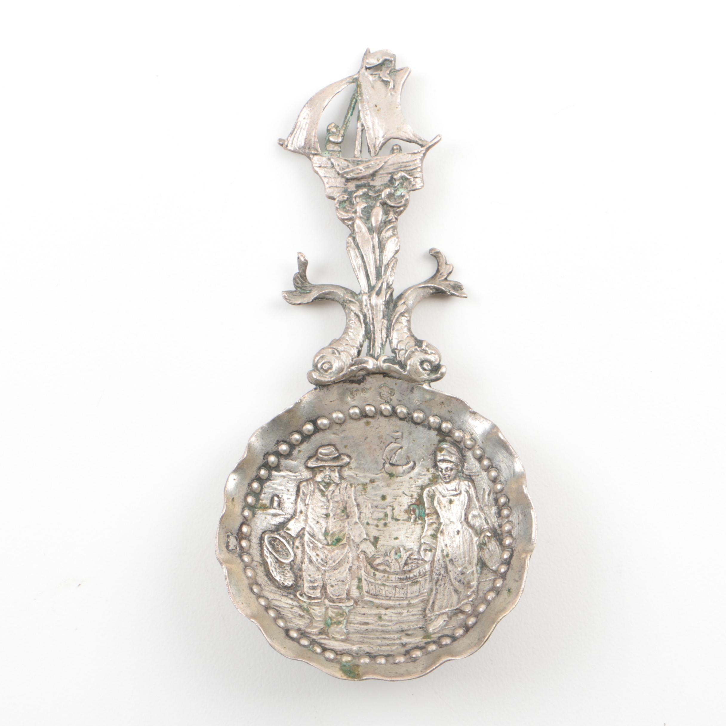 Vintage German Hanau 800 Silver Bon Bon Spoon from Storck & Sinsheimer