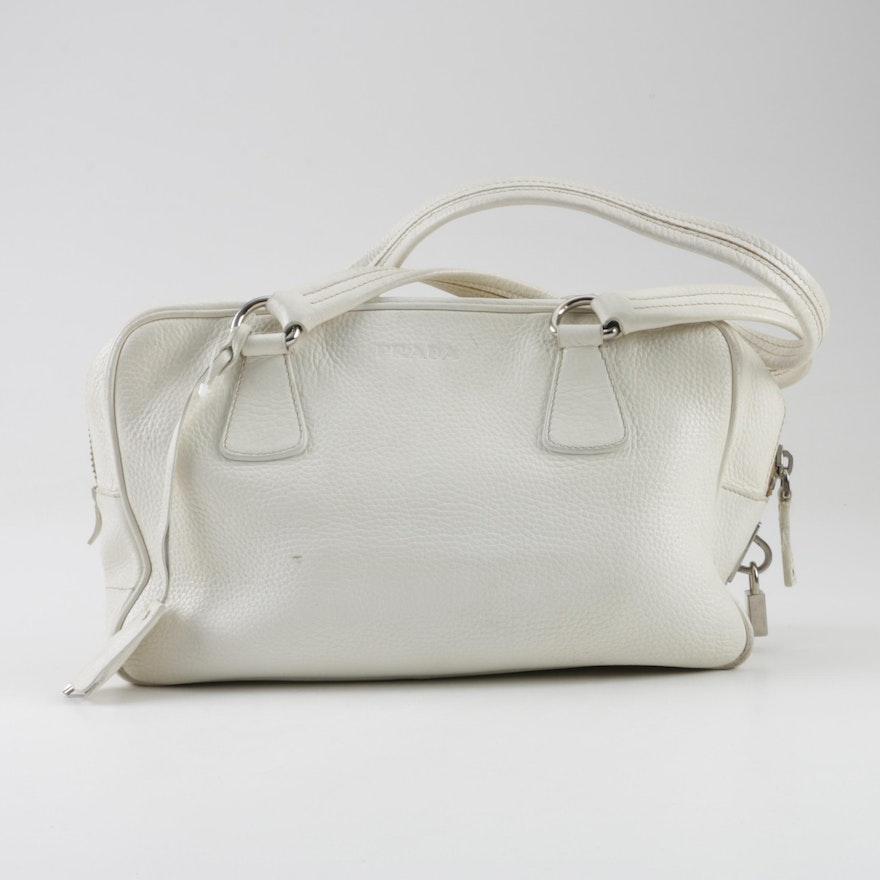 Prada Pebbled White Leather Handbag   EBTH 9741d30f64551
