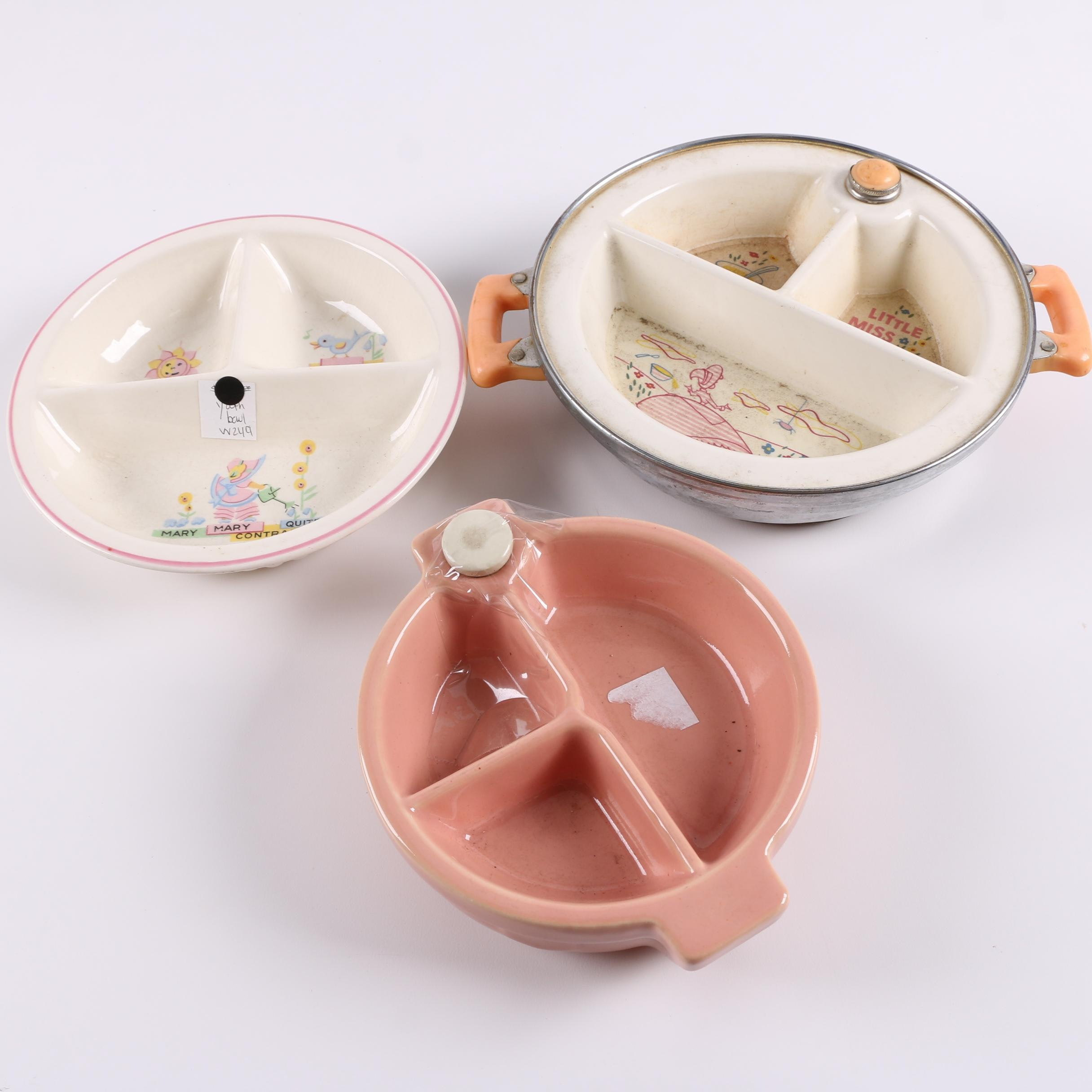 Vintage Children's Ceramic Bowls Including Excello Warming Bowl