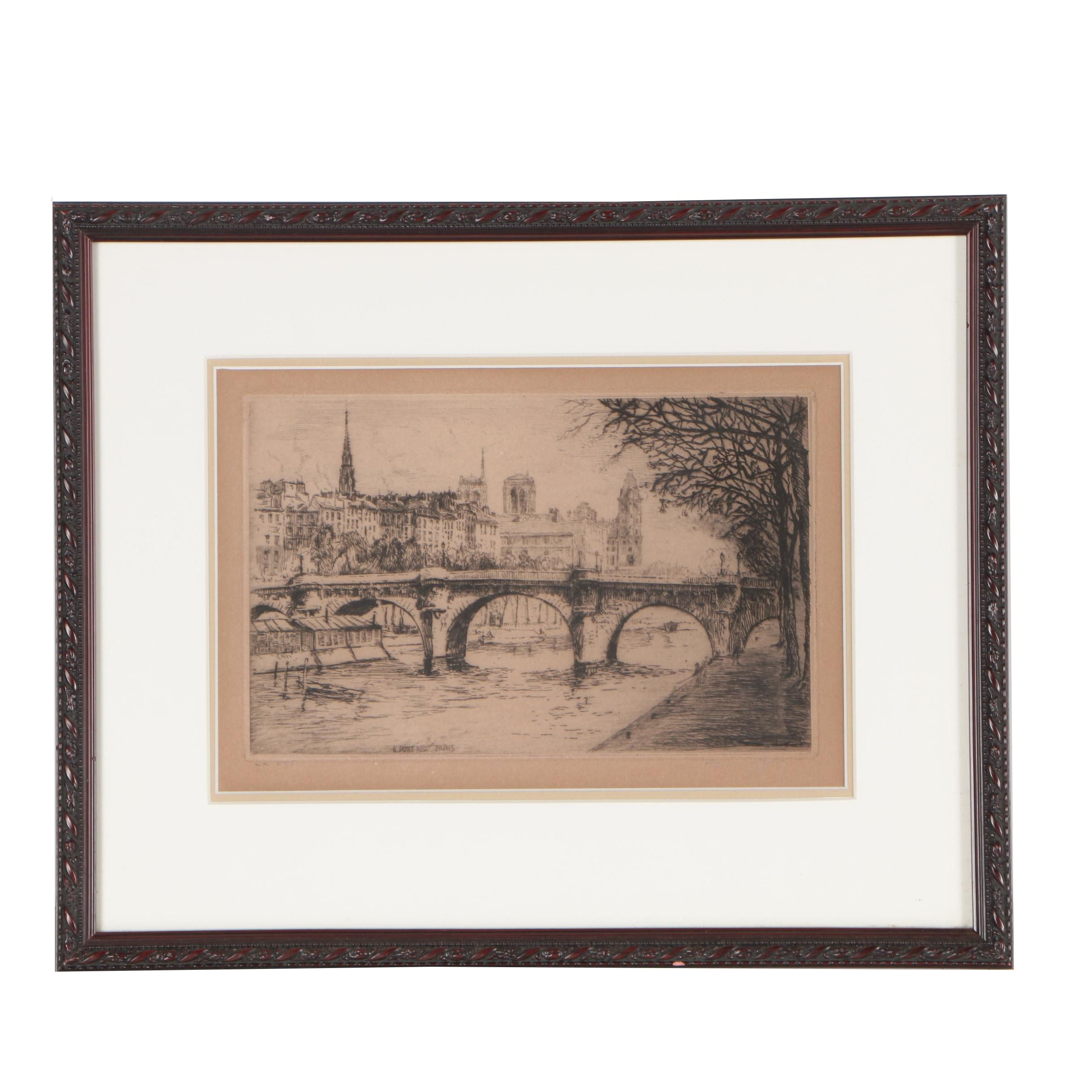 "Paul Jeffrey Limited Edition Etching ""Le Pont Neuf, Paris"""