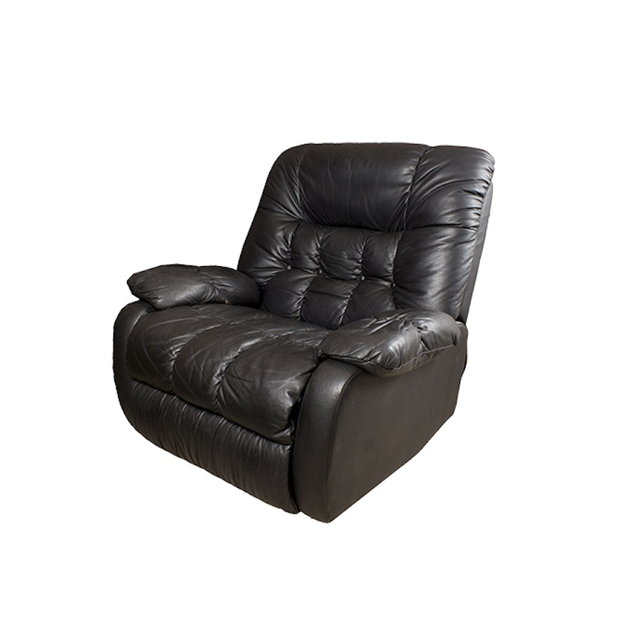 Black Faux Leather Recliner By First Best Furniture Company Ebth