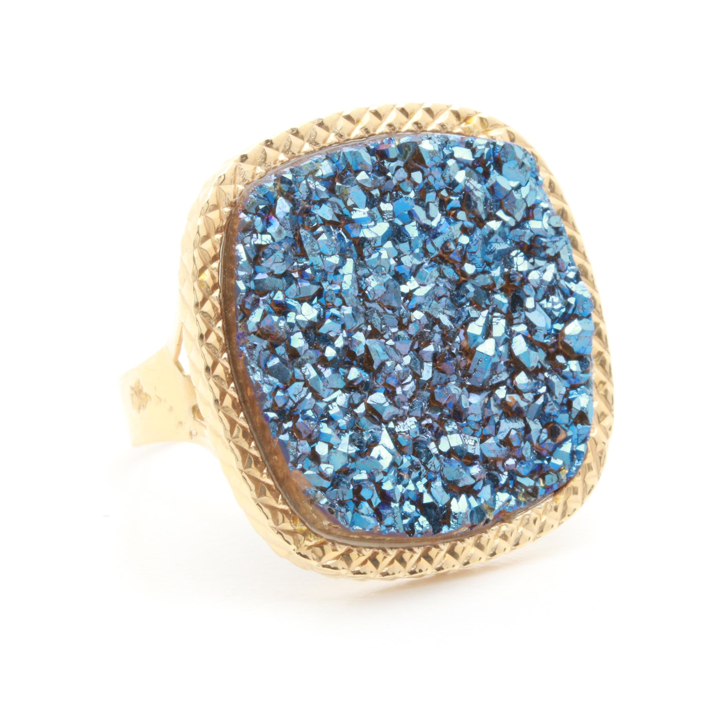 Milor 14K Yellow Gold Druzy Ring