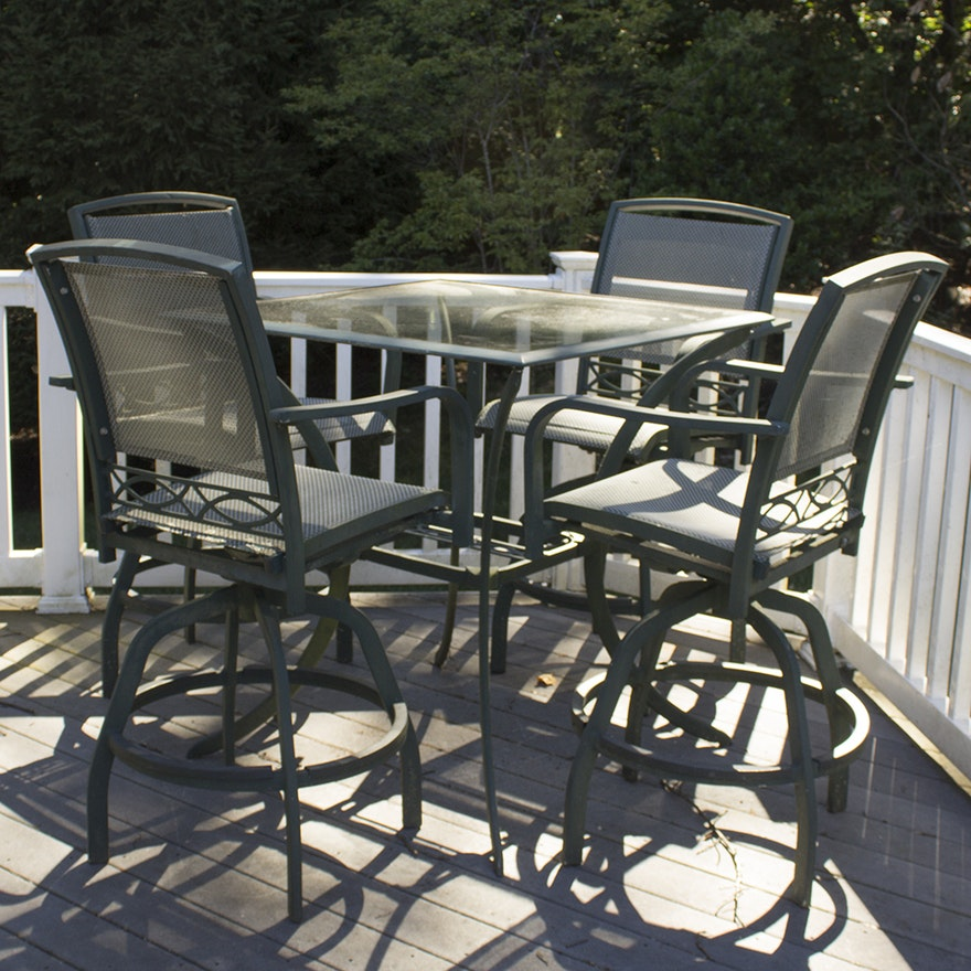 Agio Glass Top Metal Patio Table With Chairs Ebth