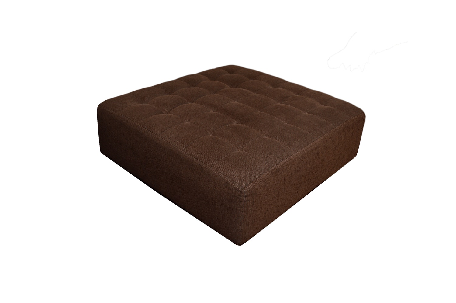 Chocolate Brown Upholstered Ottoman with Button Tufted Top