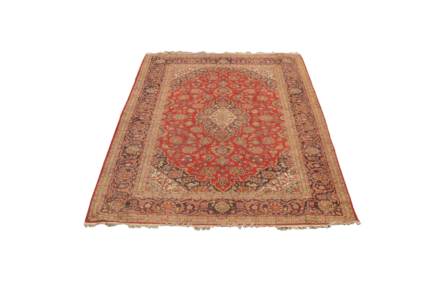 Hand-Knotted Persian Ardekan Kashan Wool Area Rug