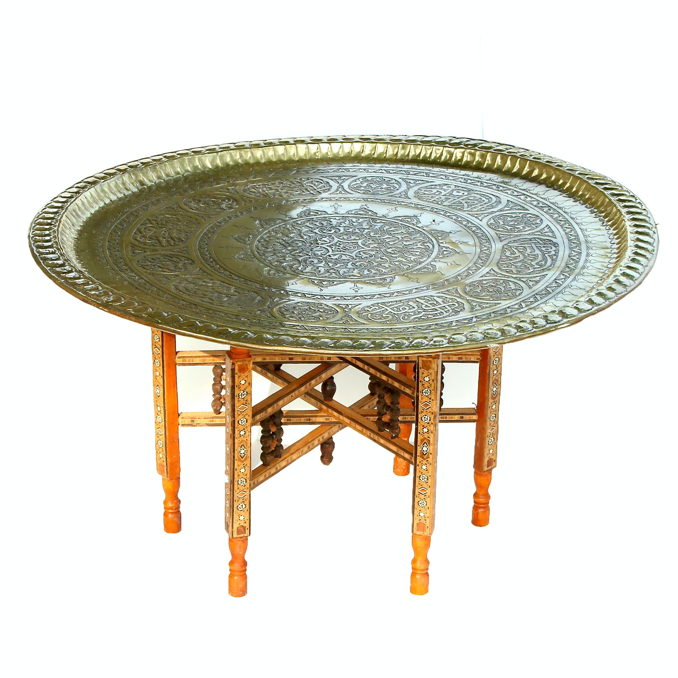 Moroccan Inlay Tray Table with Brass Tray