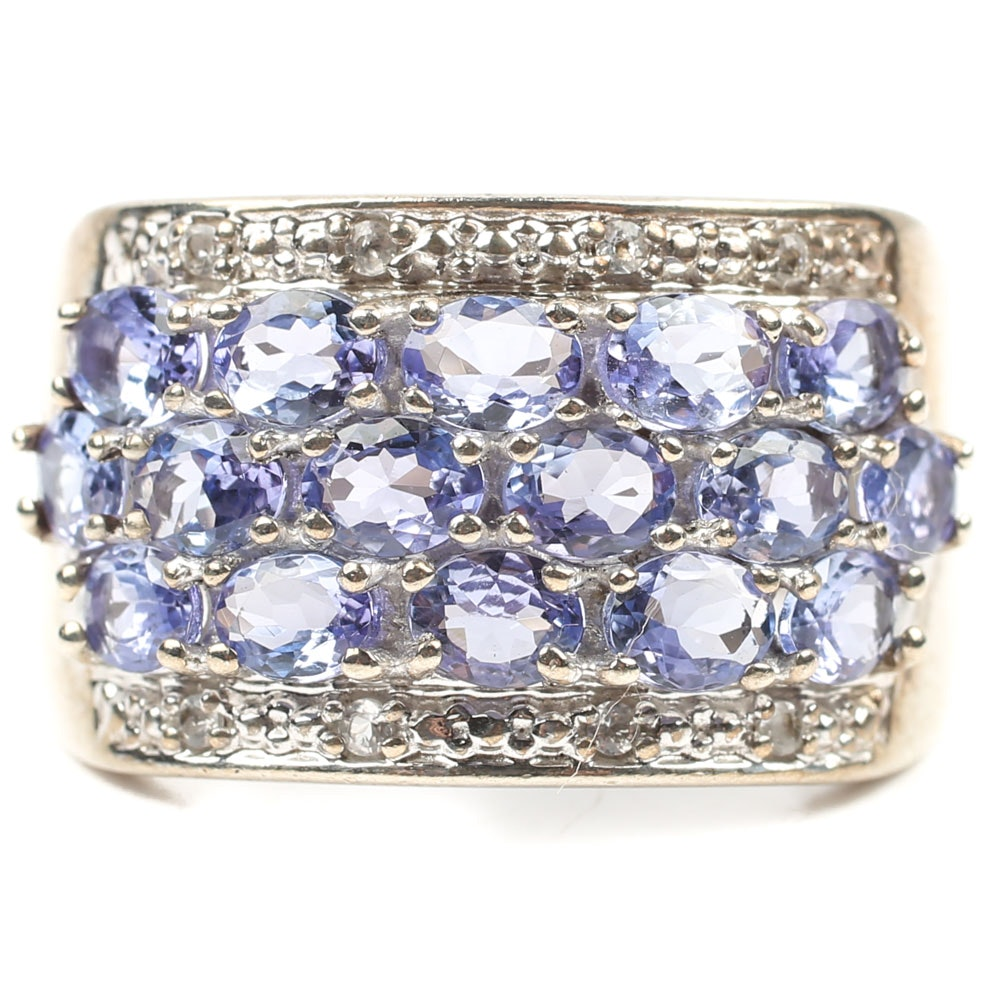 Sterling Silver Three Row 3.84 CTW Tanzanite and White Topaz Band