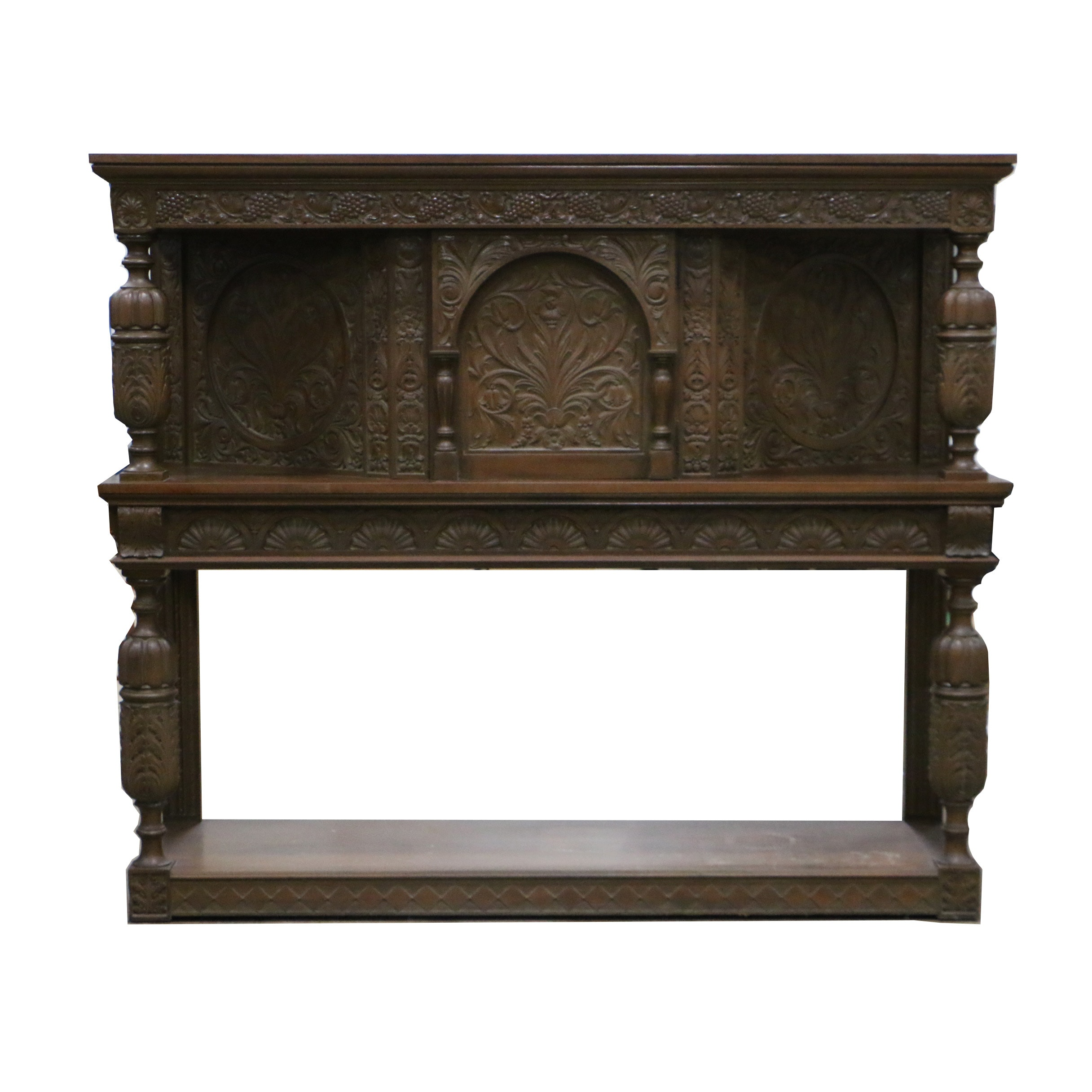 Early 20th Century Jacobean Style Carved Walnut Court Cupboard