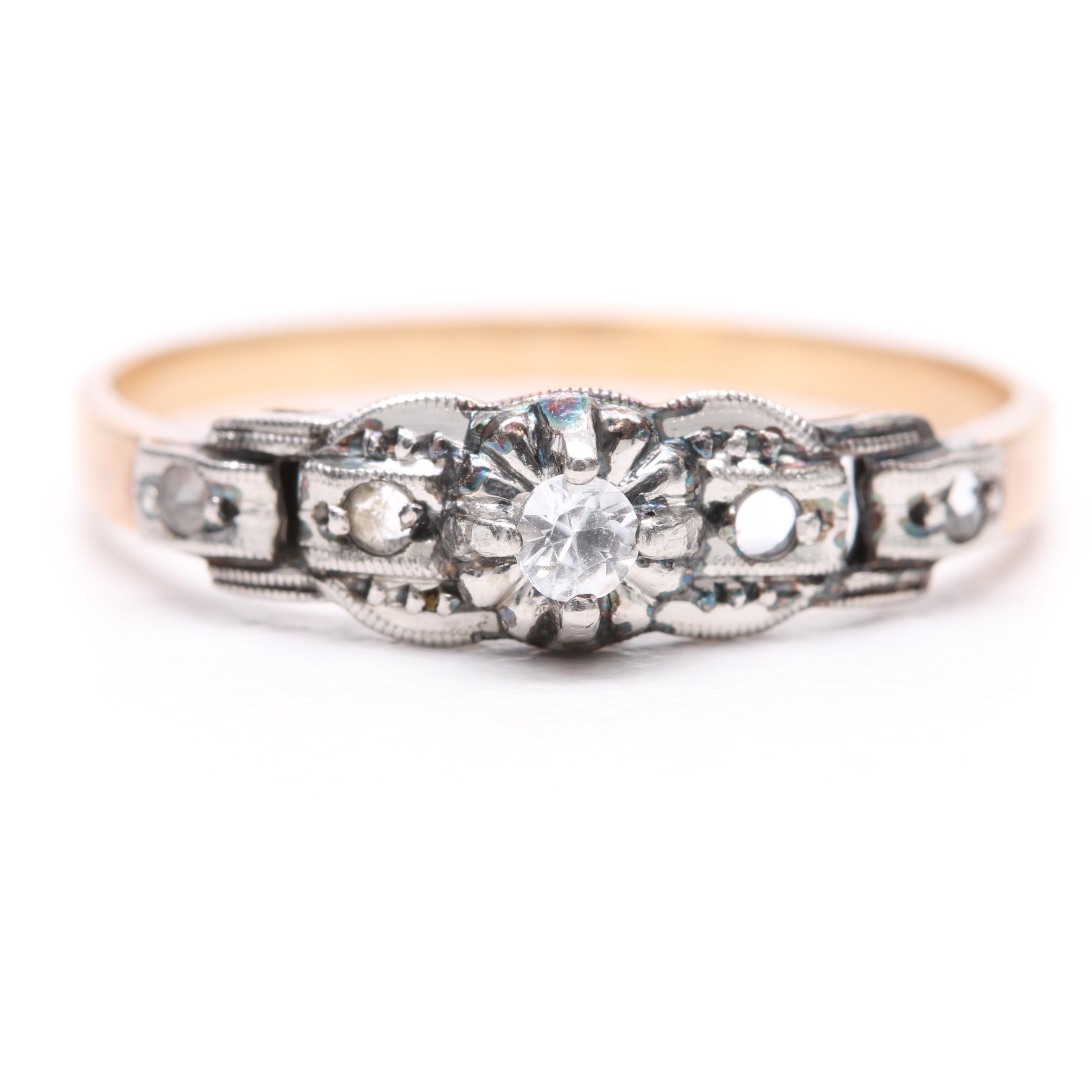 18K Yellow Gold and Platinum White Sapphire Ring