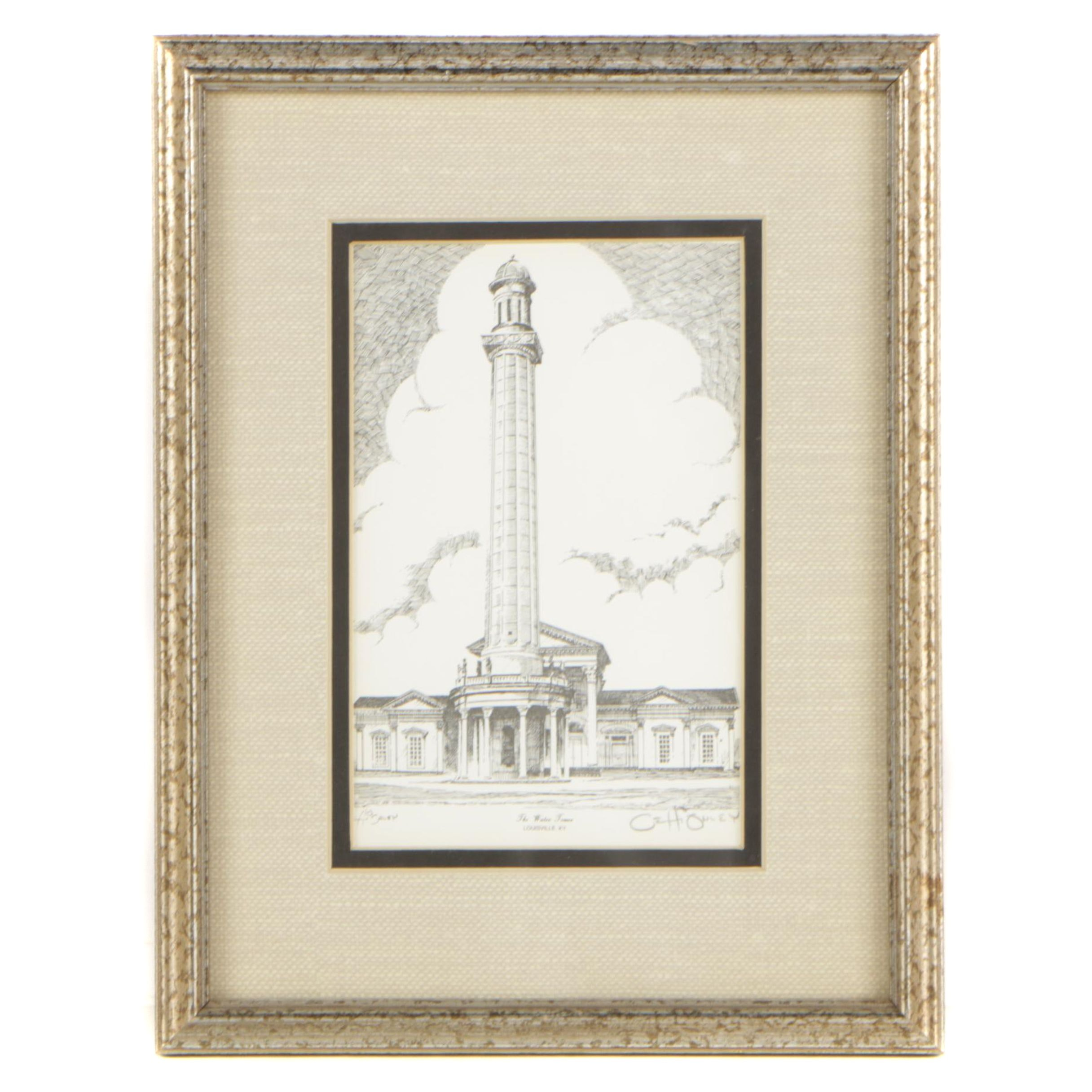 """O.H. Ohley Lithograph """"The Water Tower"""""""