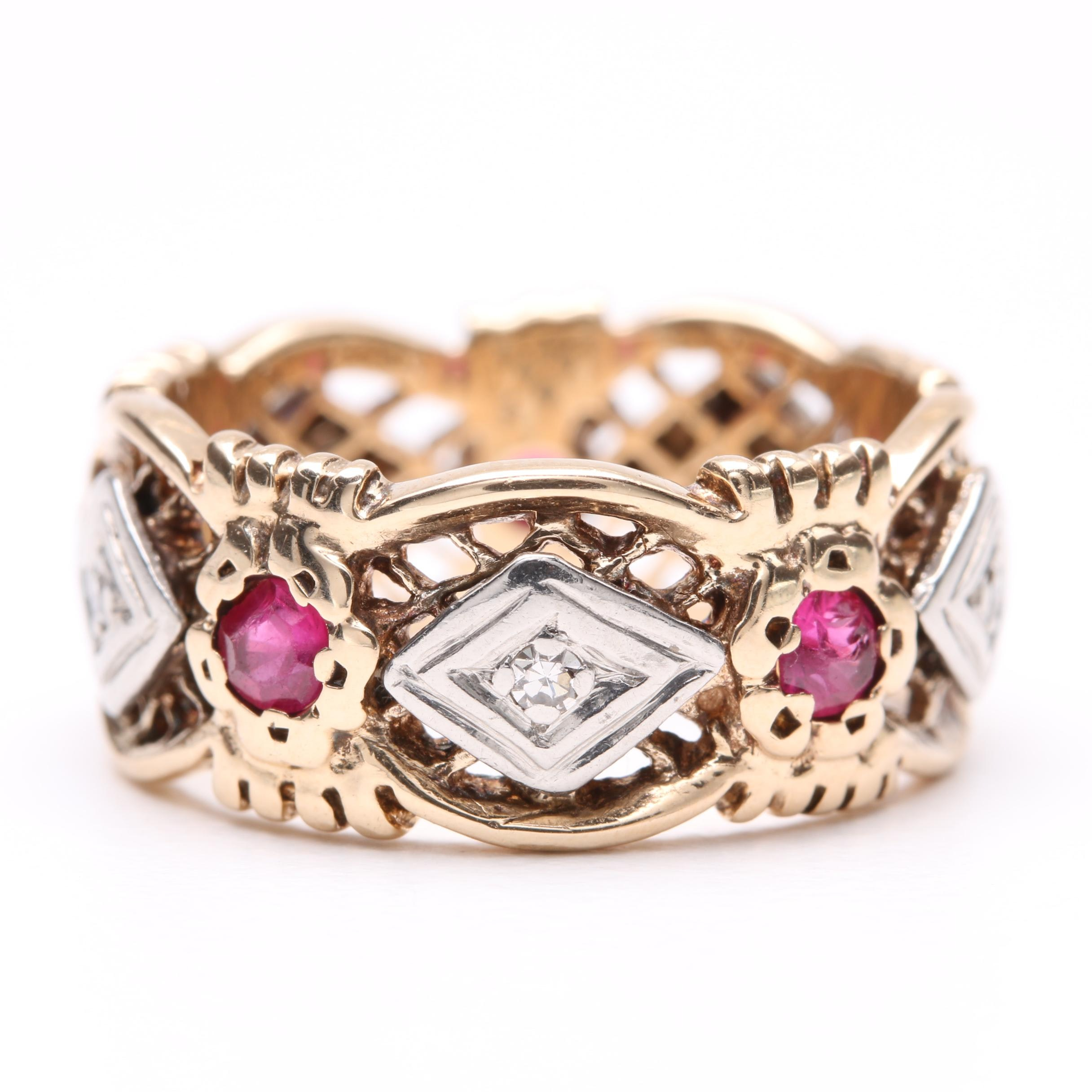 Vintage 14K Yellow Gold Synthetic Ruby and Diamond Ring with Palladium Accents