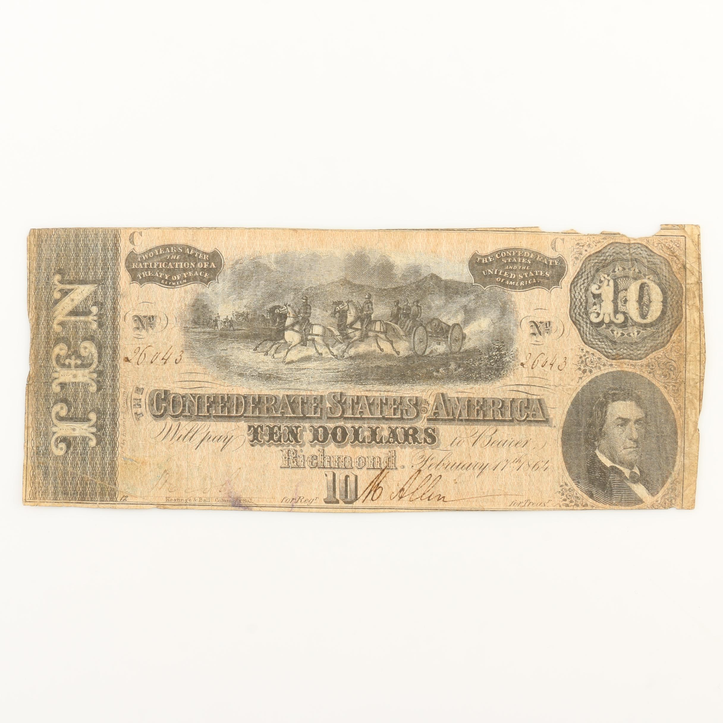 Ten Dollar Obsolete Currency Note from the Confederate States of America