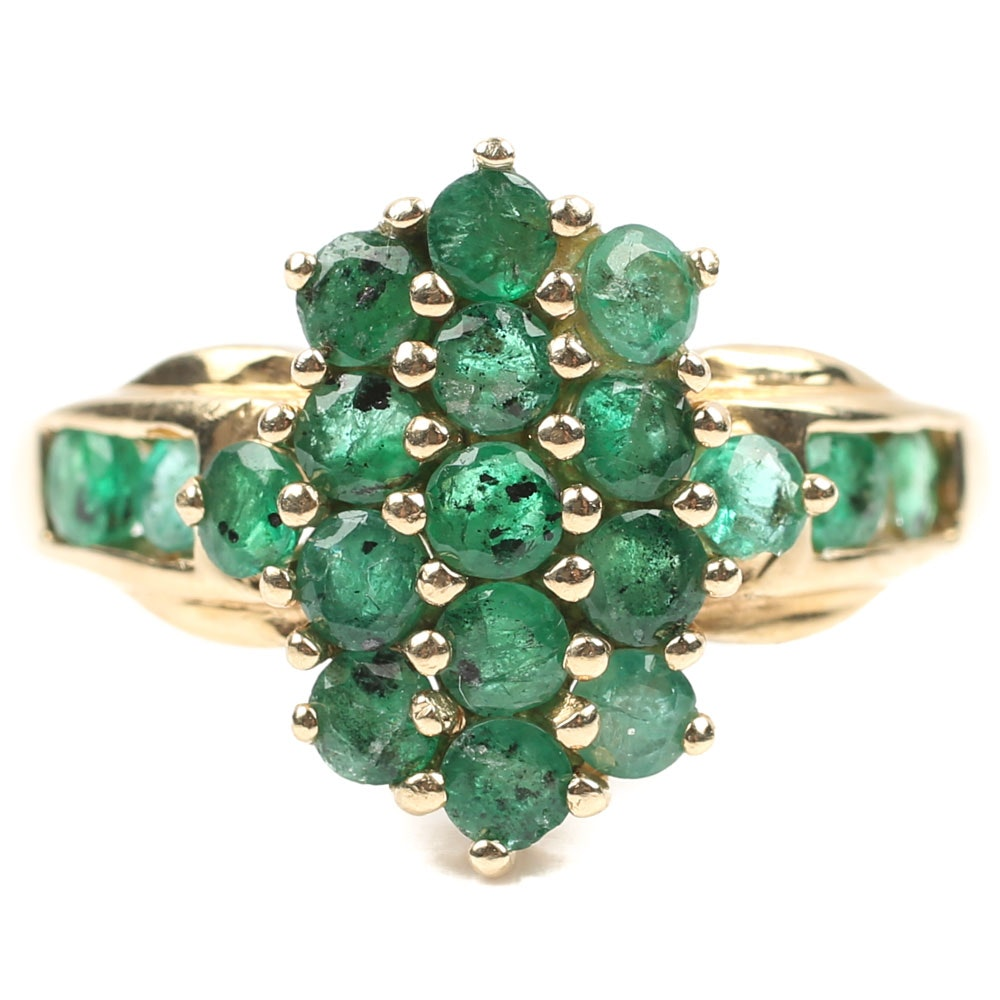 14K Yellow Gold Emerald Cluster Ring