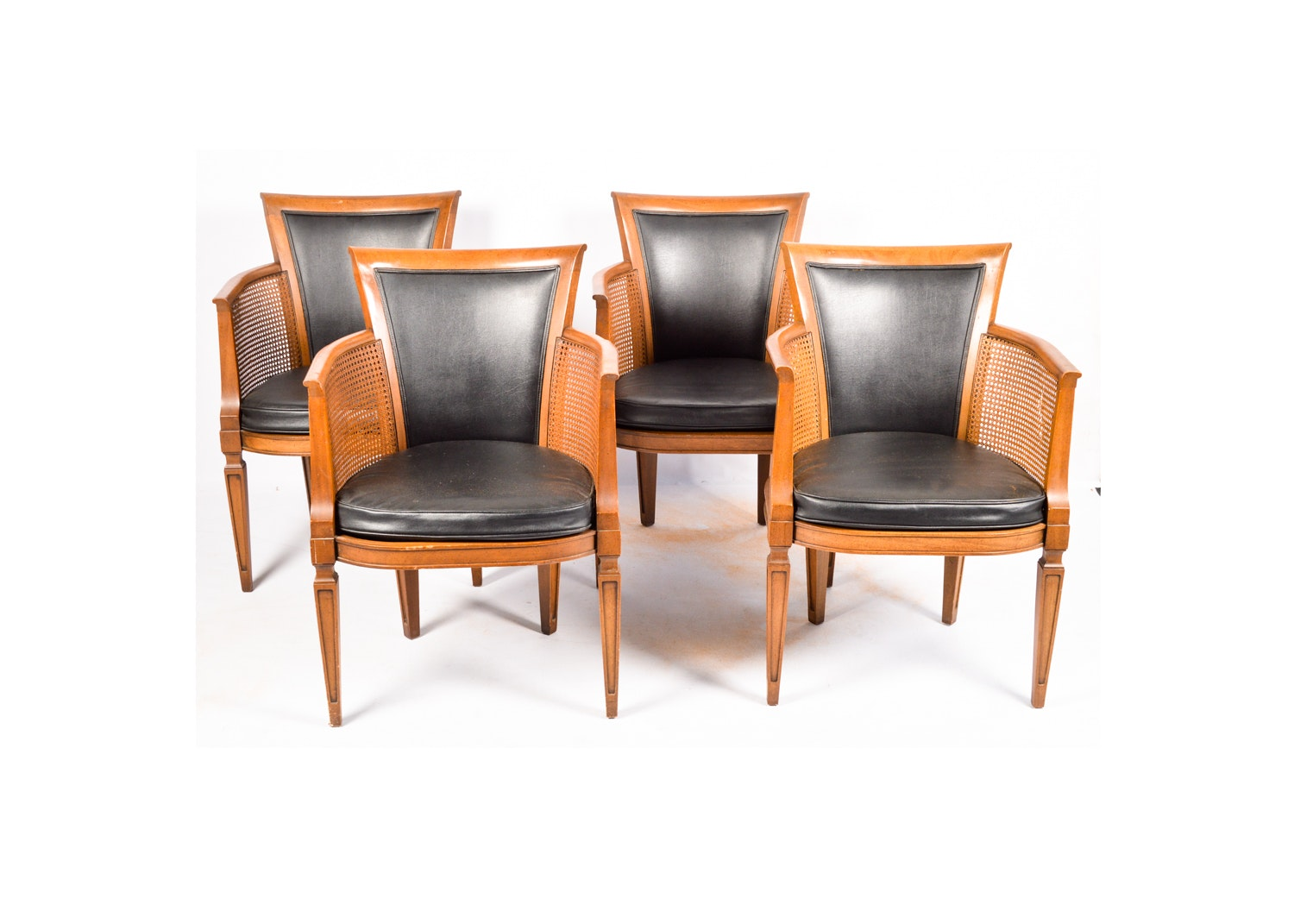 Faux Leather and Cane Armchairs