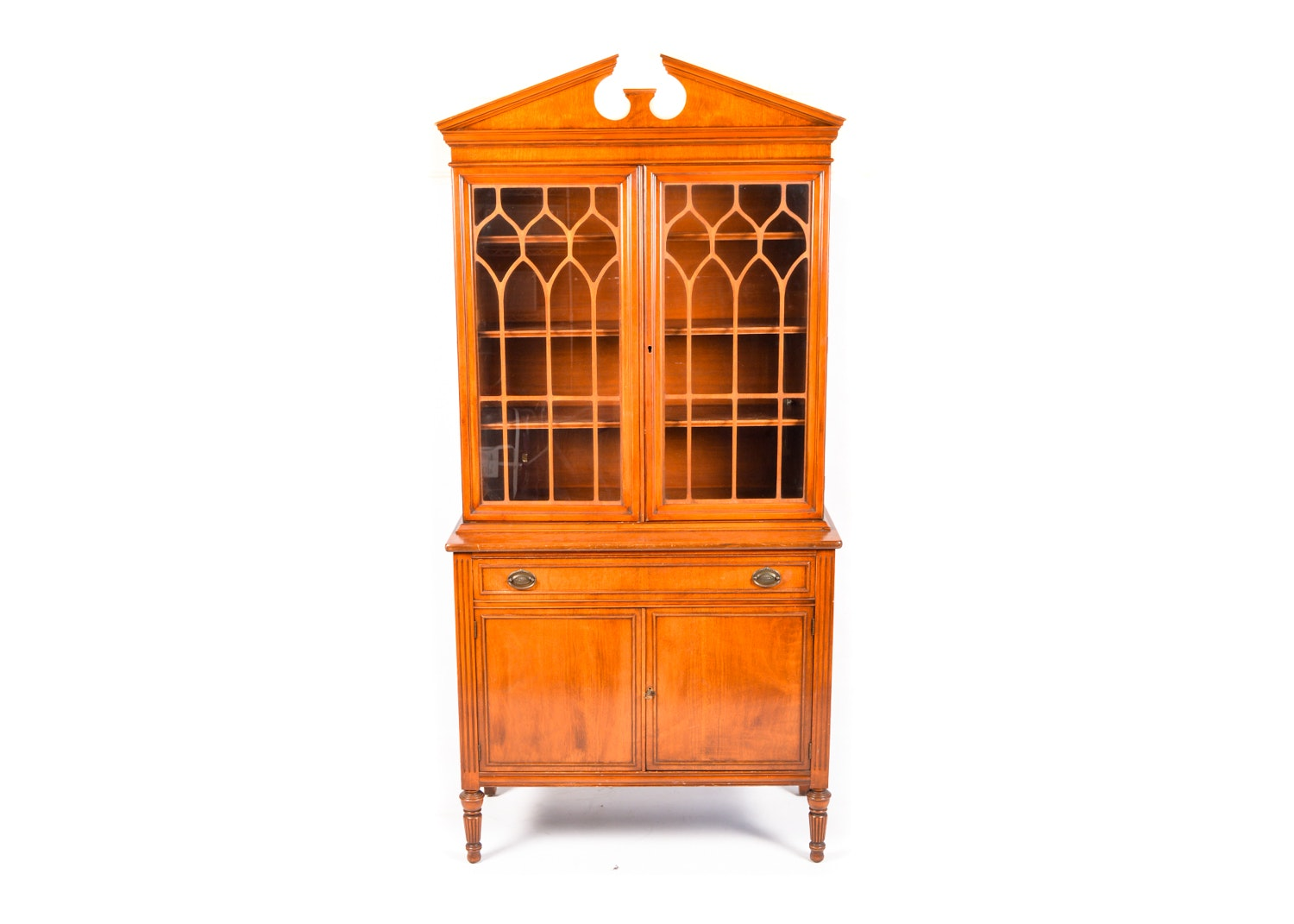 Vintage Federal Style Walnut China Cabinet