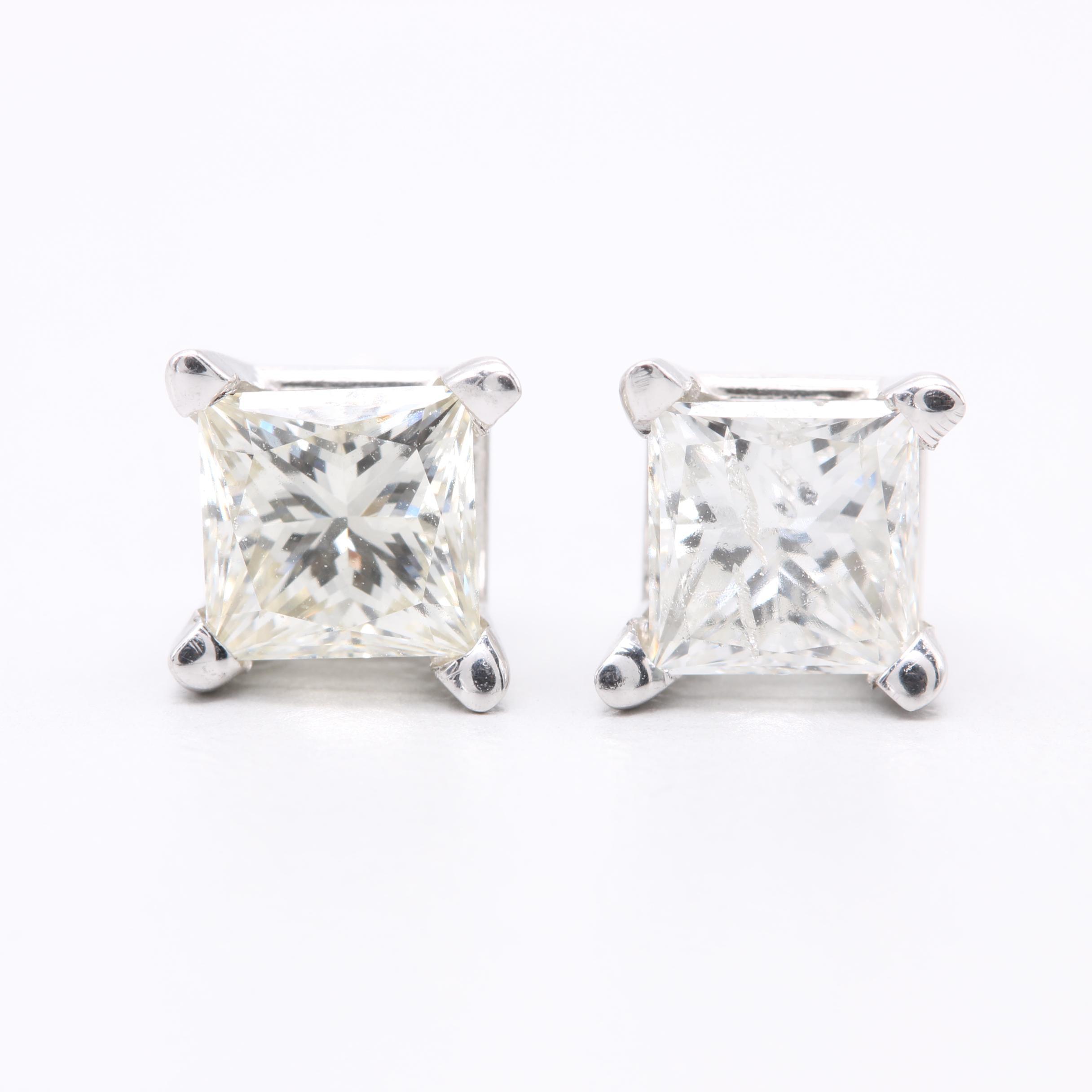 14K White Gold 1.28 CTW Diamond Earrings