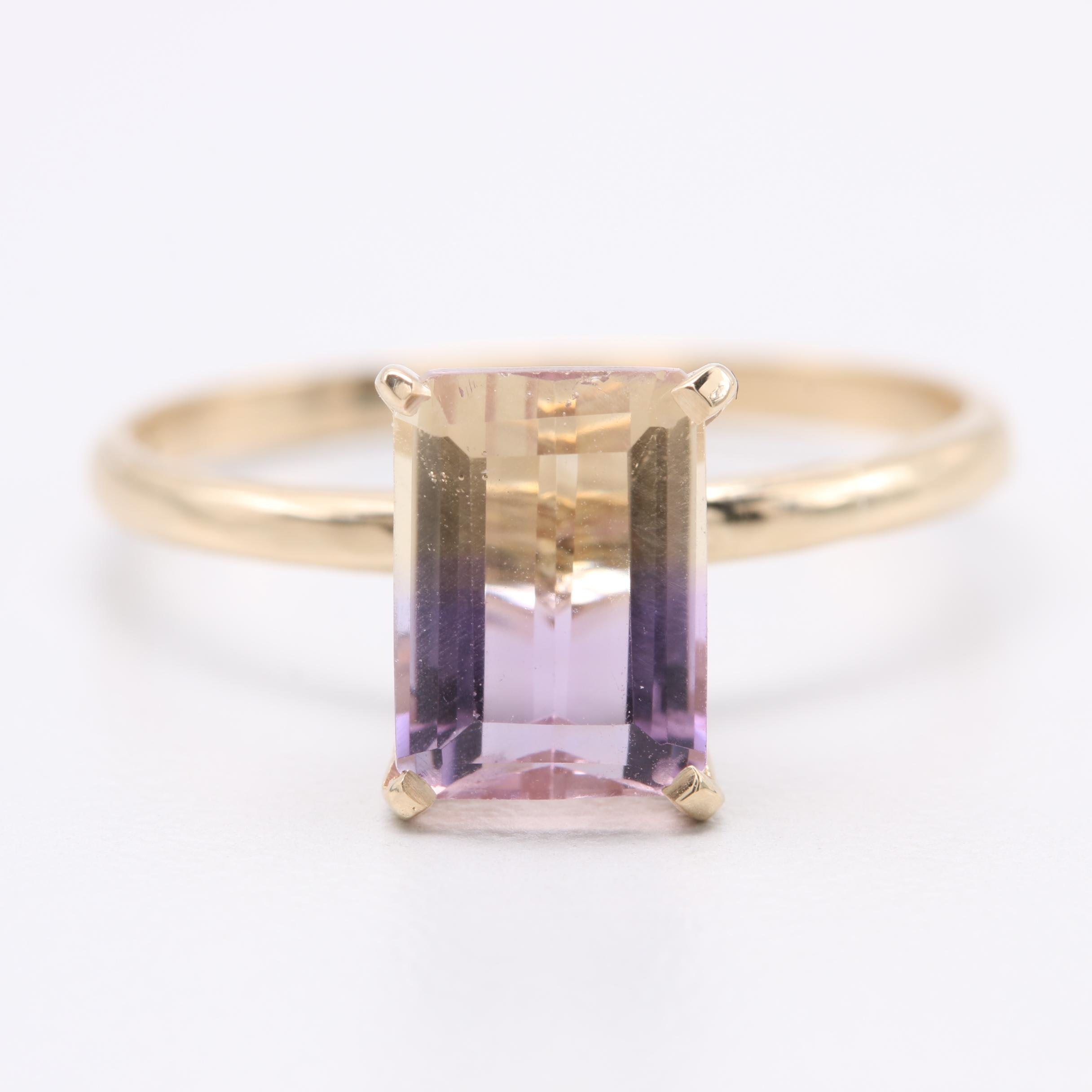 14K Yellow Gold Ametrine Solitaire Ring