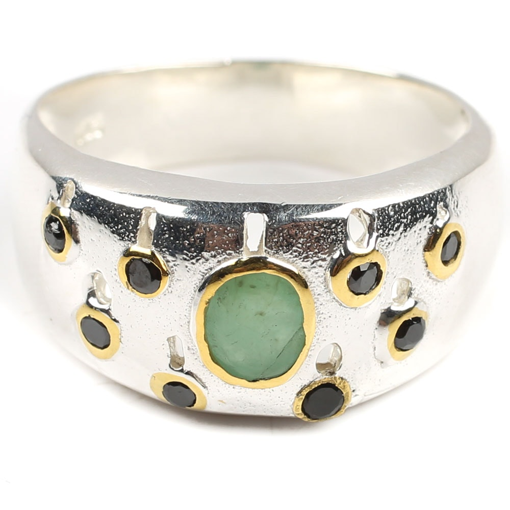 Sterling Silver Emerald and Black Spinel Ring
