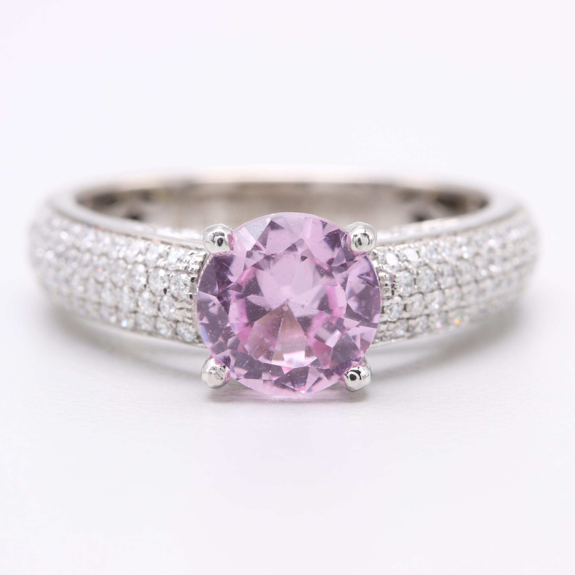 Simon G. 18K White Gold Synthetic Pink Sapphire and Diamond Ring