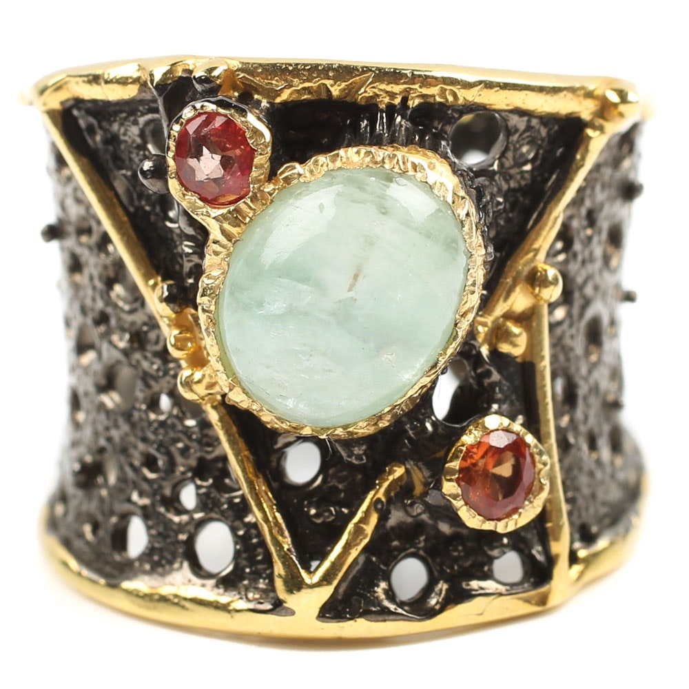 Sterling Silver Emerald and Sapphire Ring with Gold Wash Accents