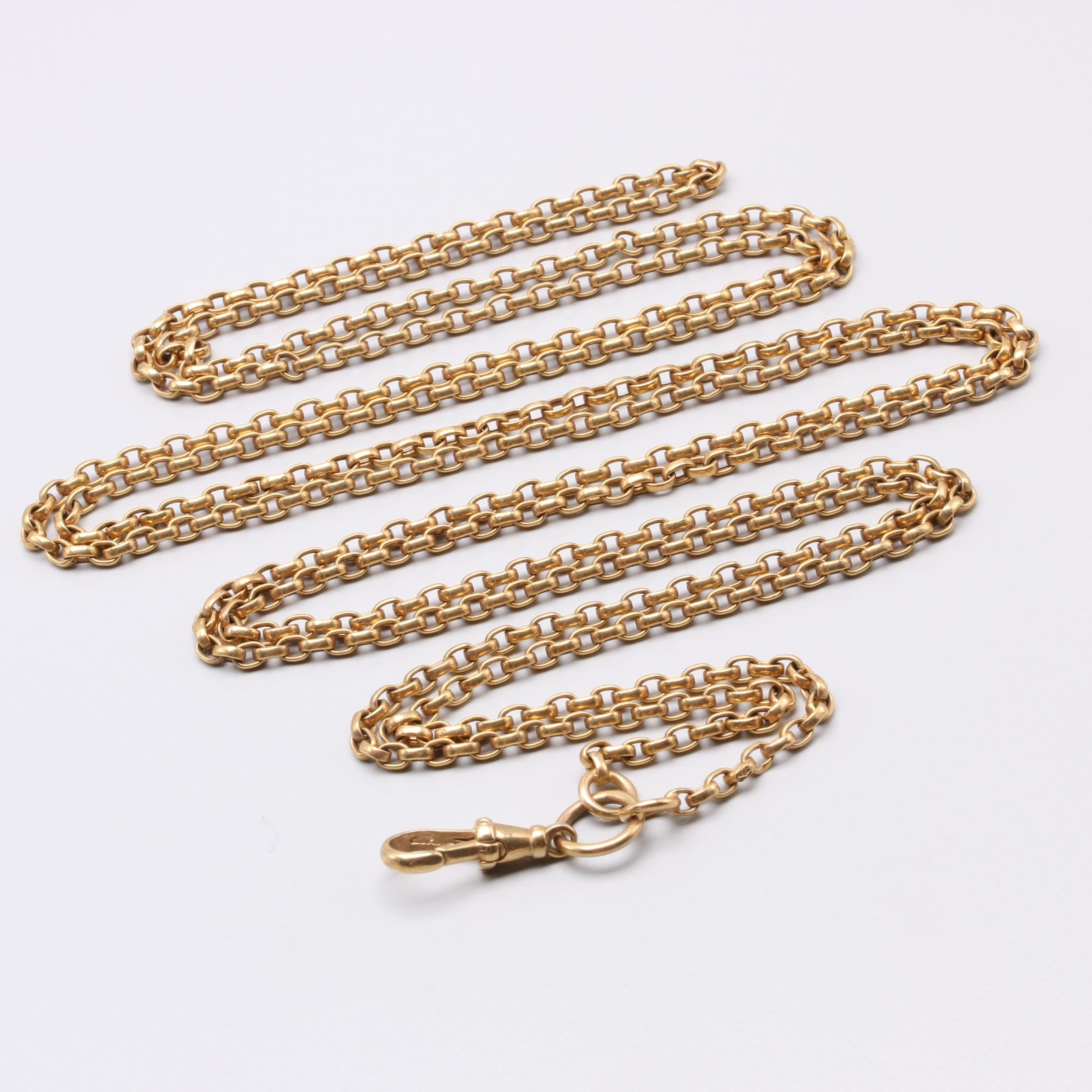 9K Yellow Gold Watch Fob Chain