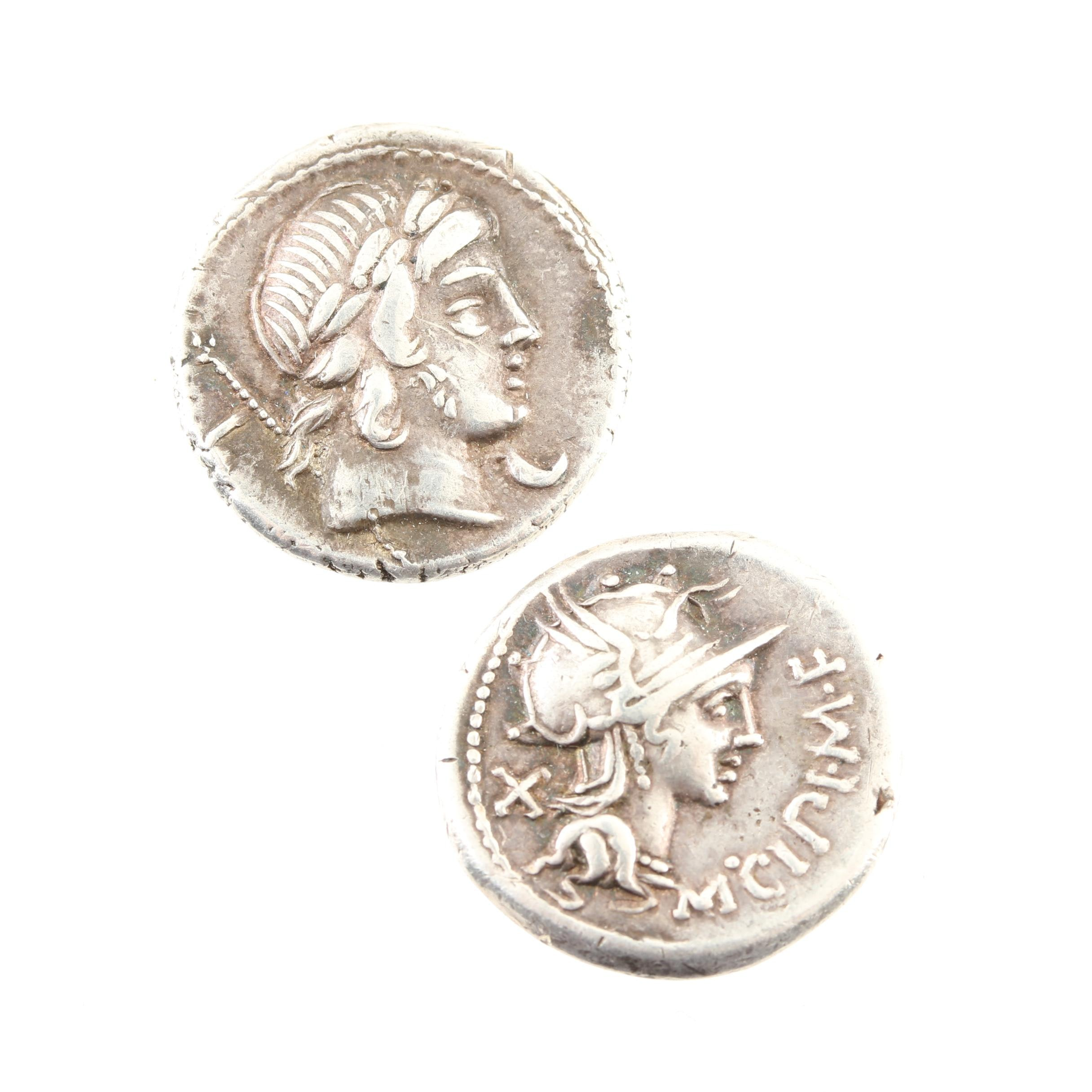 Group of Two Ancient Roman Republic Silver Denarius Coins