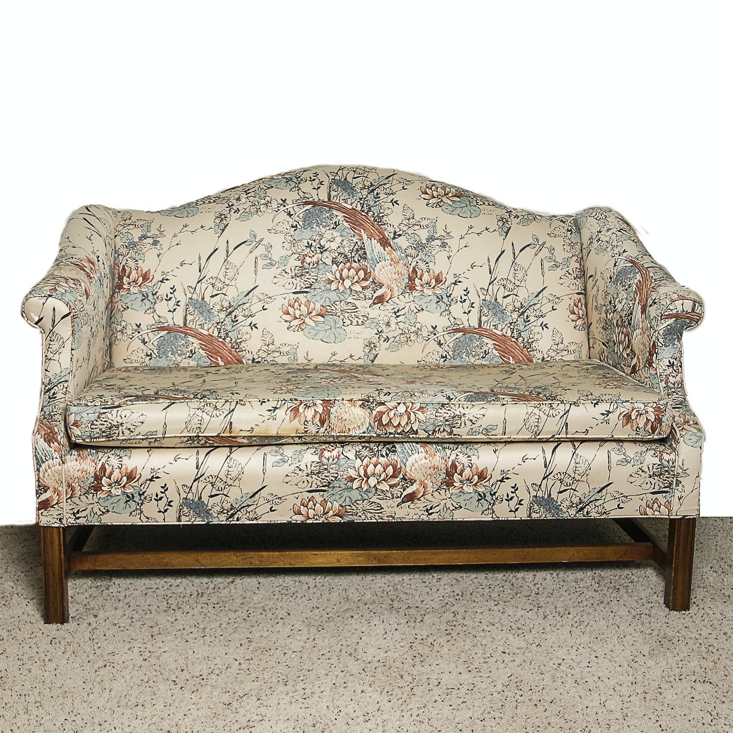 Chinese Chippendale Style Camelback Love Seat