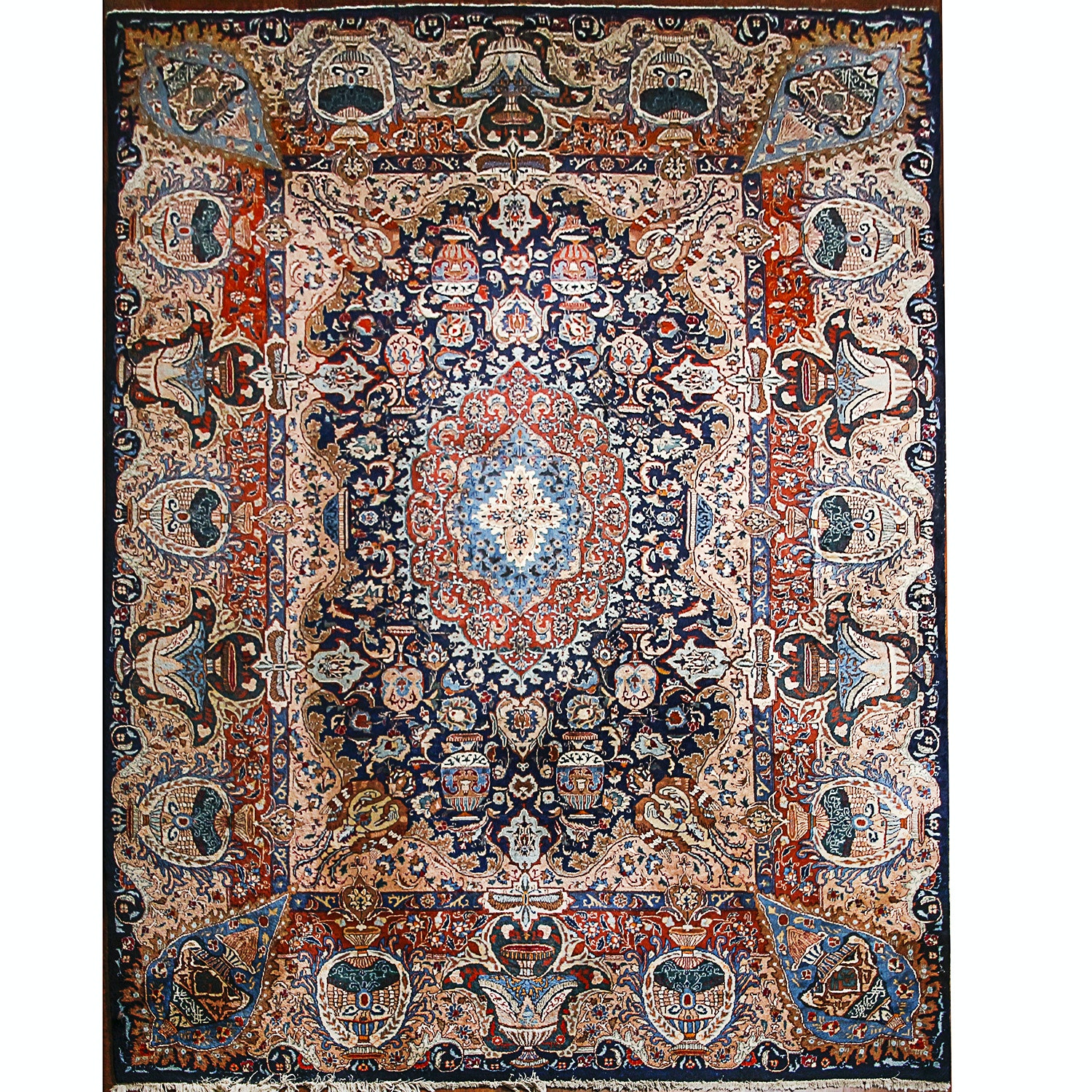 Vintage Hand-Knotted Persian Pictorial Kashan Area Rug
