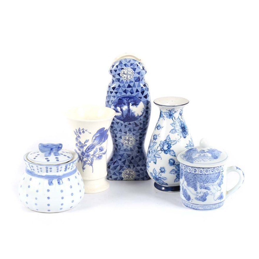 Blue And White Home Decor Featuring Spode Vase Ebth