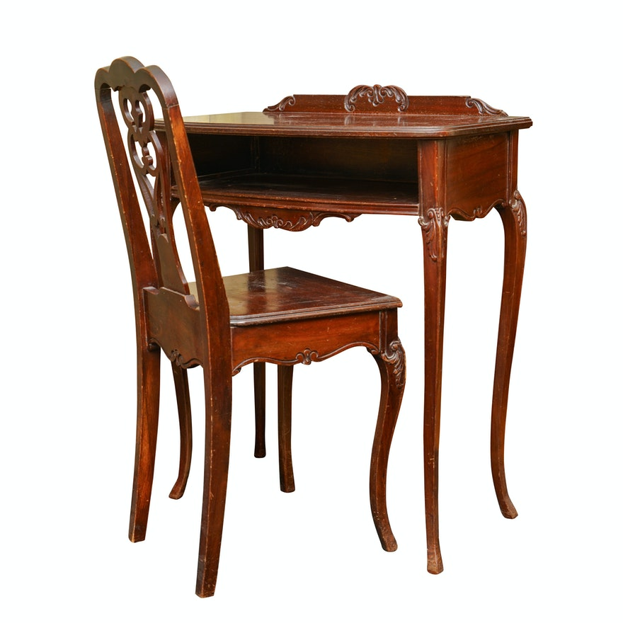 Incredible Vintage Louis Xv Style Writing Desk With Side Chair Dailytribune Chair Design For Home Dailytribuneorg