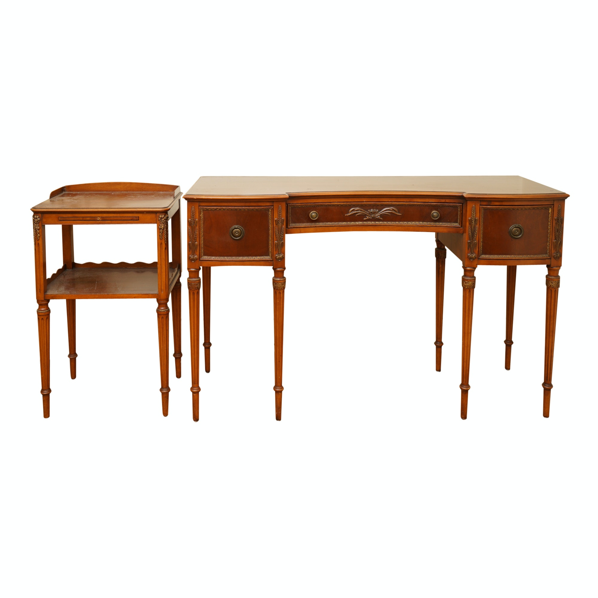 Vintage Louis XVI Style Mahogany Desk and Accent Table by Paine Furniture Co.
