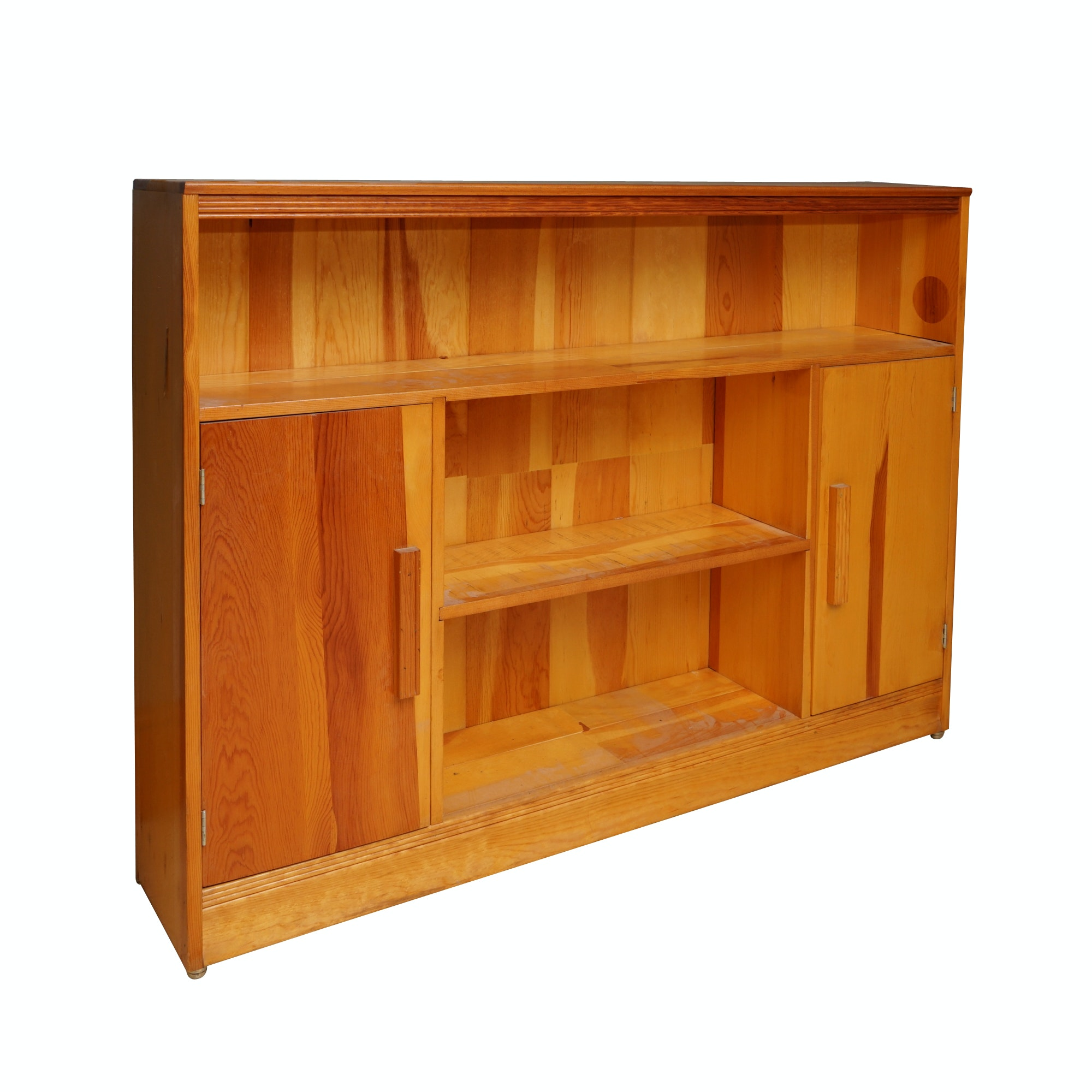 Contemporary Mixed Wood Bookcase Cabinet