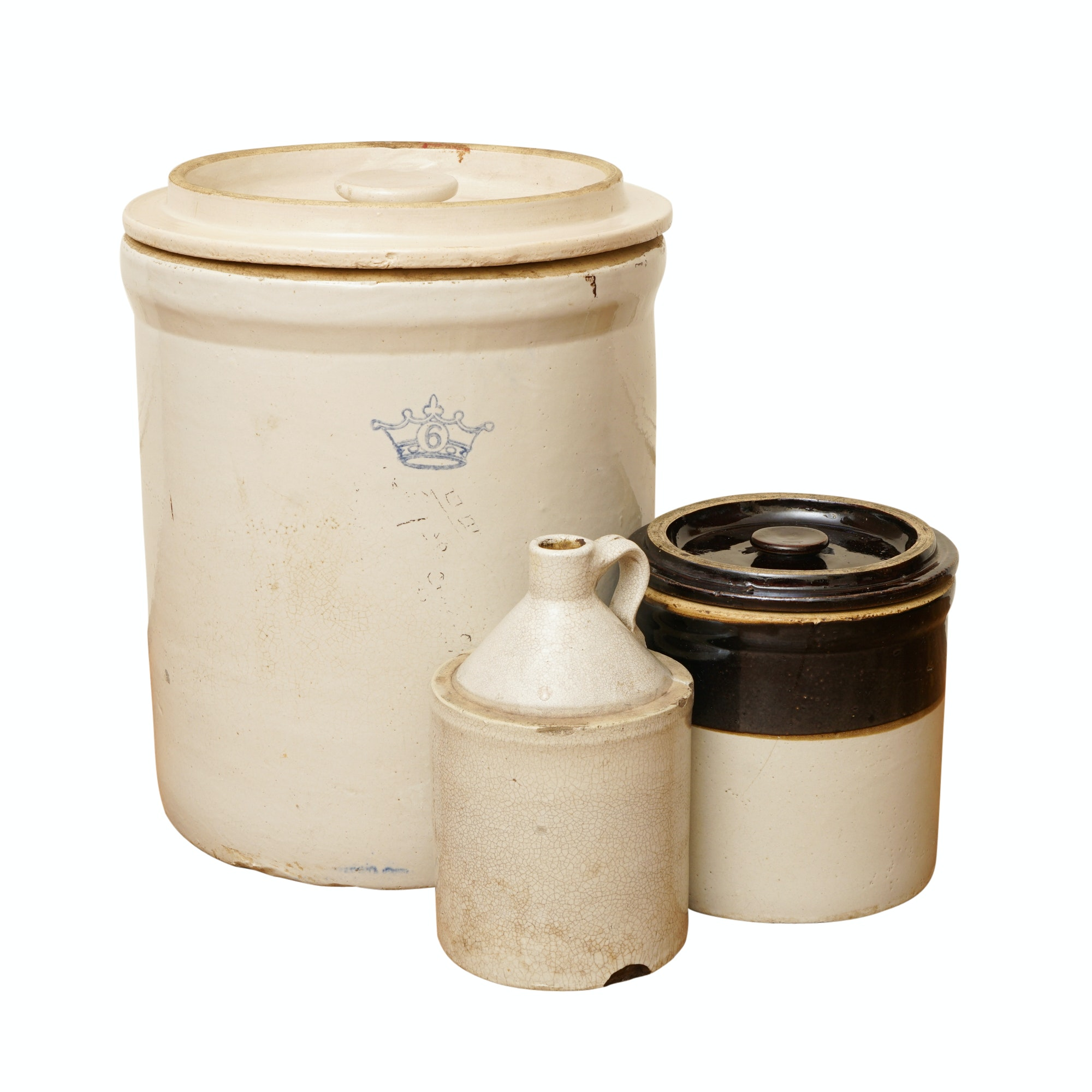 Vintage Stoneware Crocks and Jug featuring Robinson Ransbottom