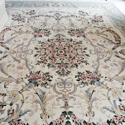 Finely Hand-Knotted Signed Aubusson Inspired Wool Area Rug