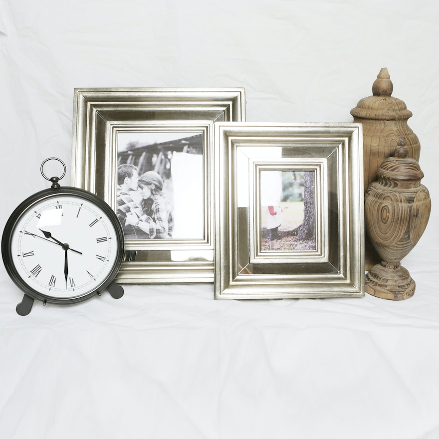 Pottery Barn Pocket Watch Clock With Mirrored Picture Frames Ebth