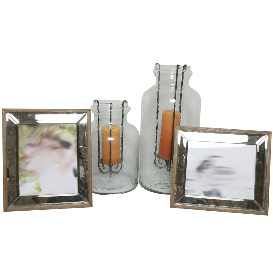 Hammered Glass Jar Hurricanes With Mirrored Picture Frames