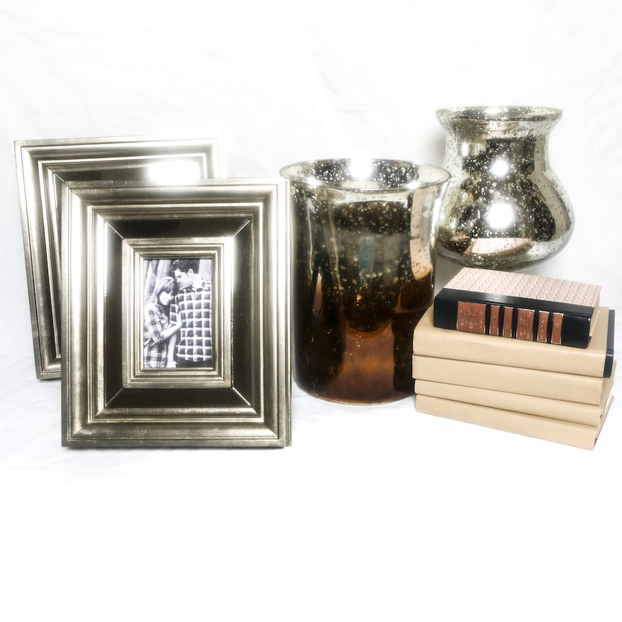 Mercury Glass Style Vases and Mirrored Picture Frames : EBTH