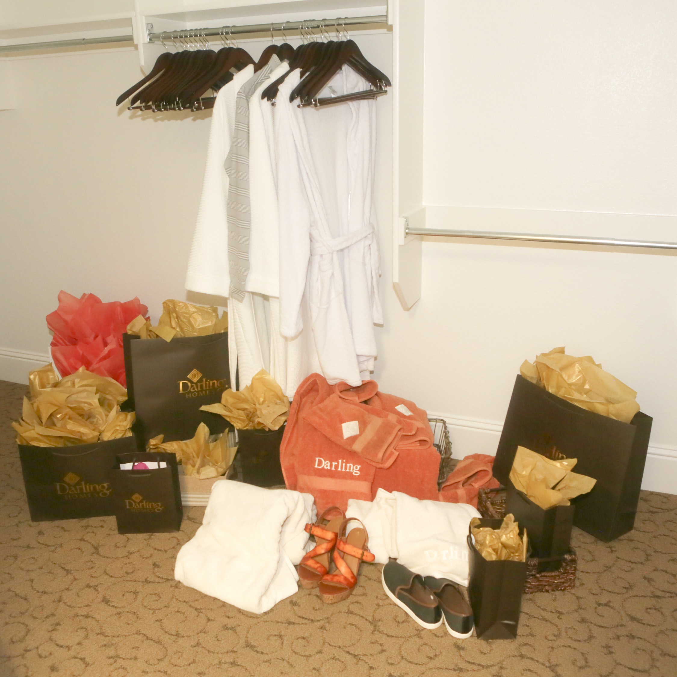 Bath Robes, Towels, Gift Bags, Hangars, and Shoes