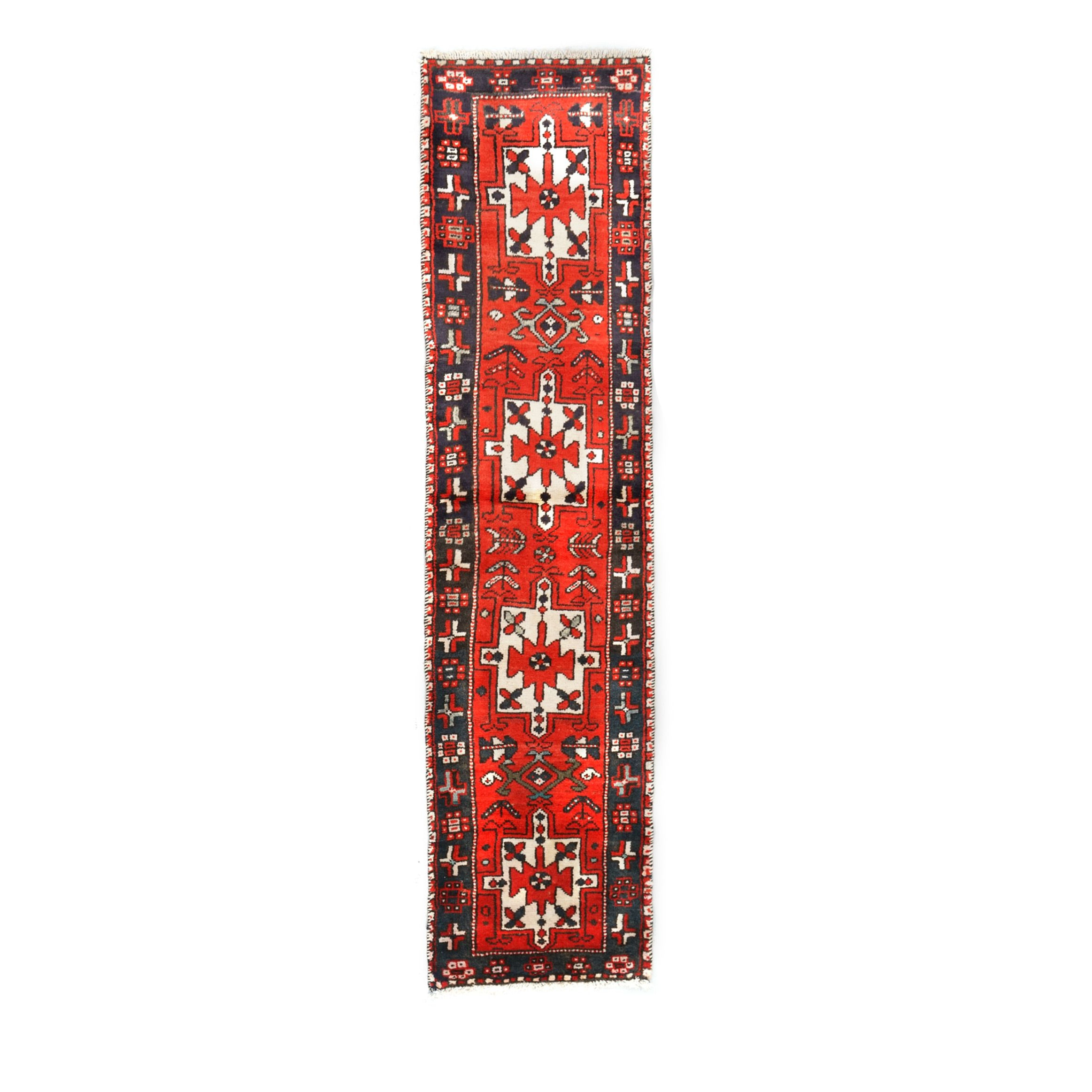Hand-Knotted Persian Village Wool Carpet Runner