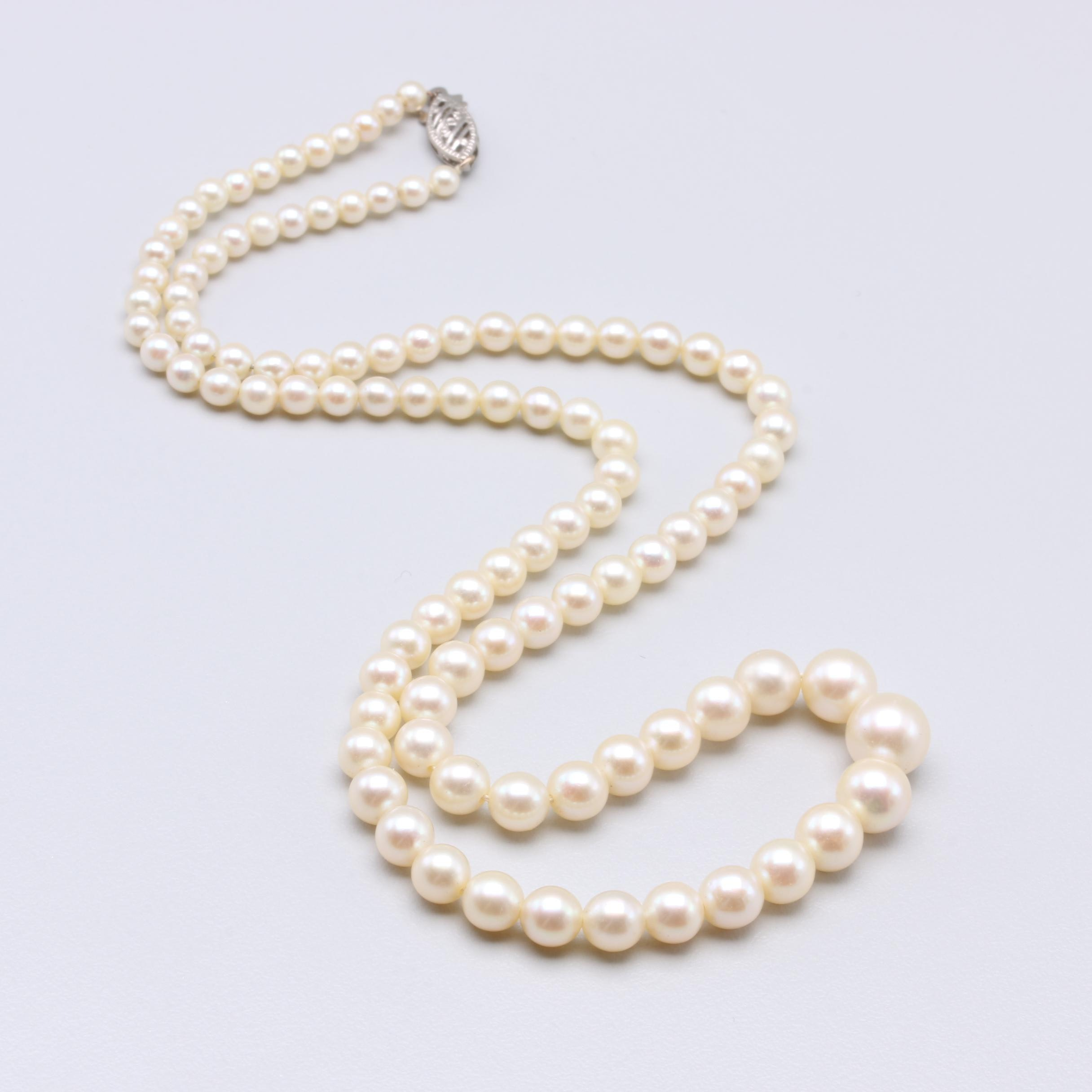 10K White Gold Cultured Pearl Necklace