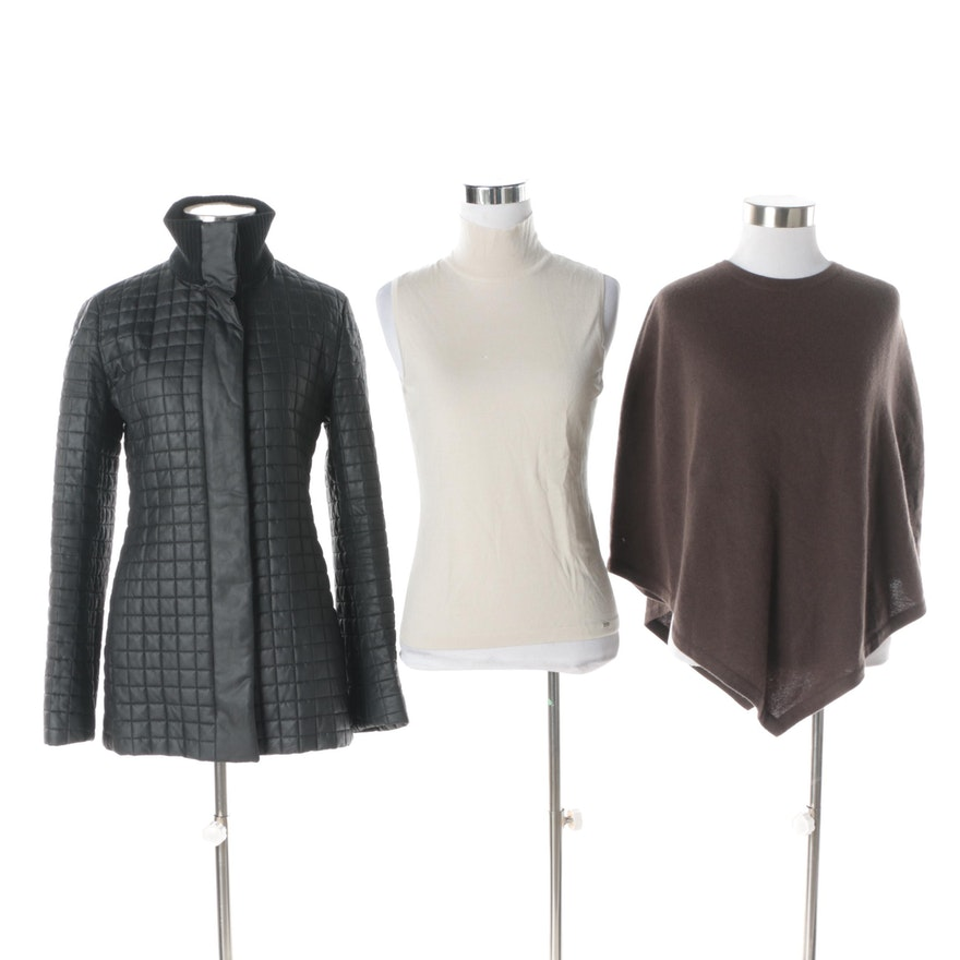 e658181fe3 Women's Akris Jacket with Theory Cashmere Knit Poncho and Wolford Cashmere  ...