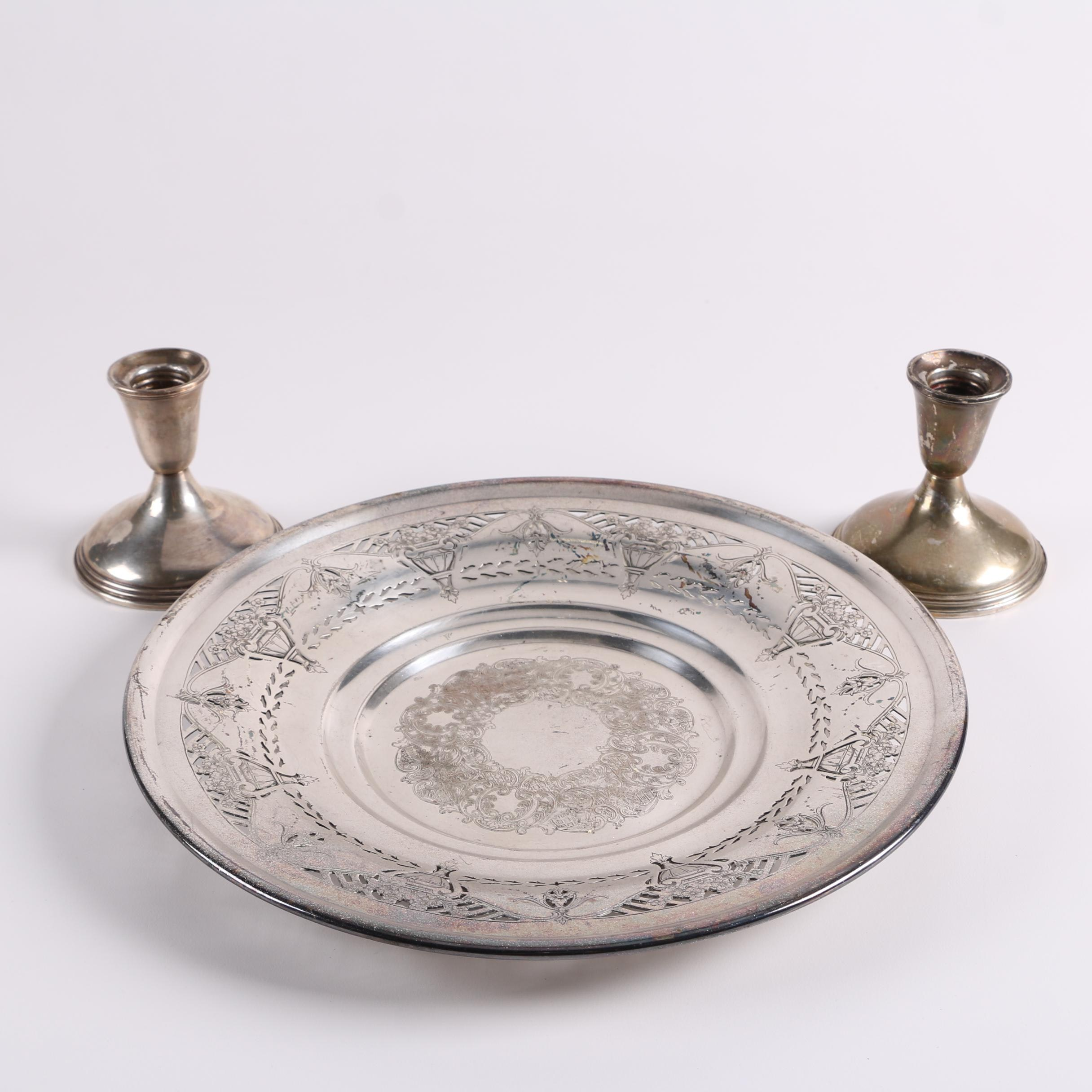 Empire Weighted Sterling Silver Candle Holders with Silver Plate Tray