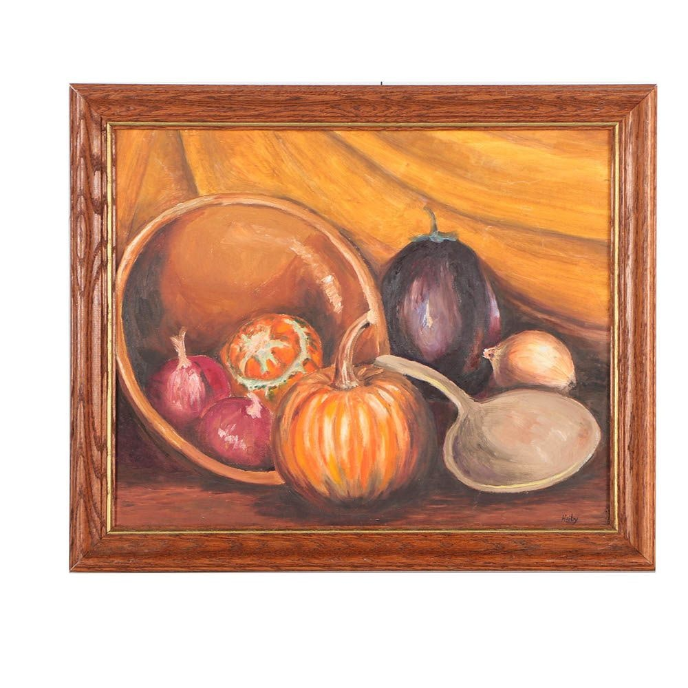 "Betty Heiby Oil Painting ""Vegetable Arrangement"""