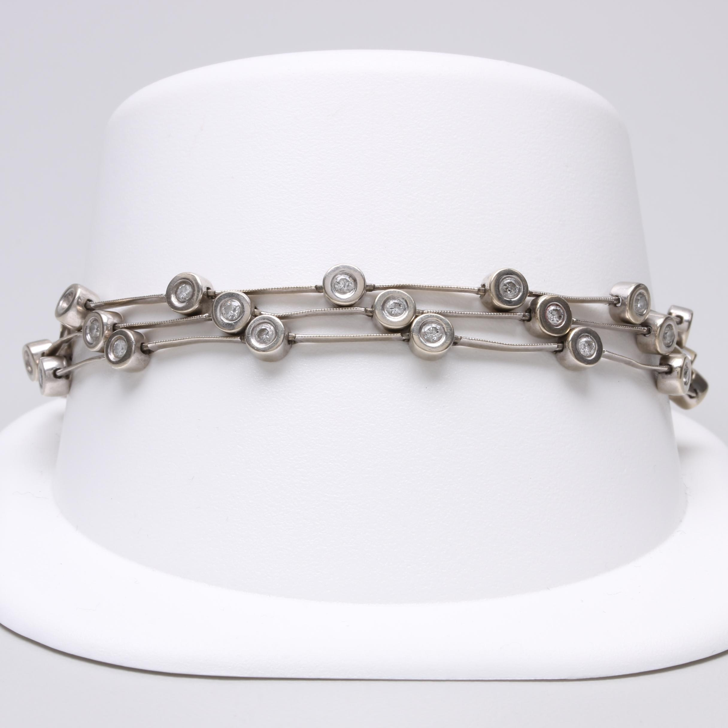 14K White Gold 0.94 CTW Diamond Bracelet