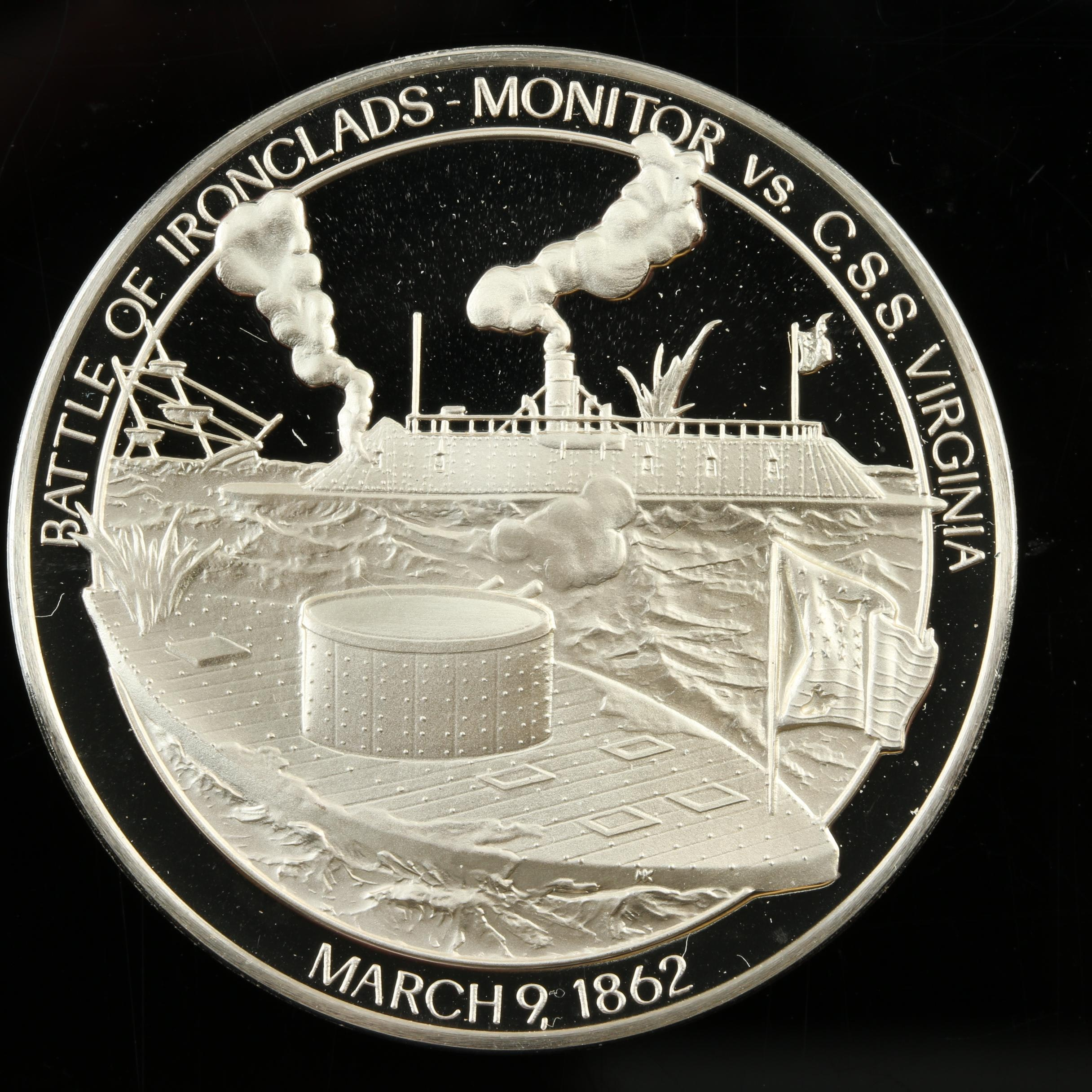 Sterling Silver Medal Commemorating the Battle of Iron Clads in 1862