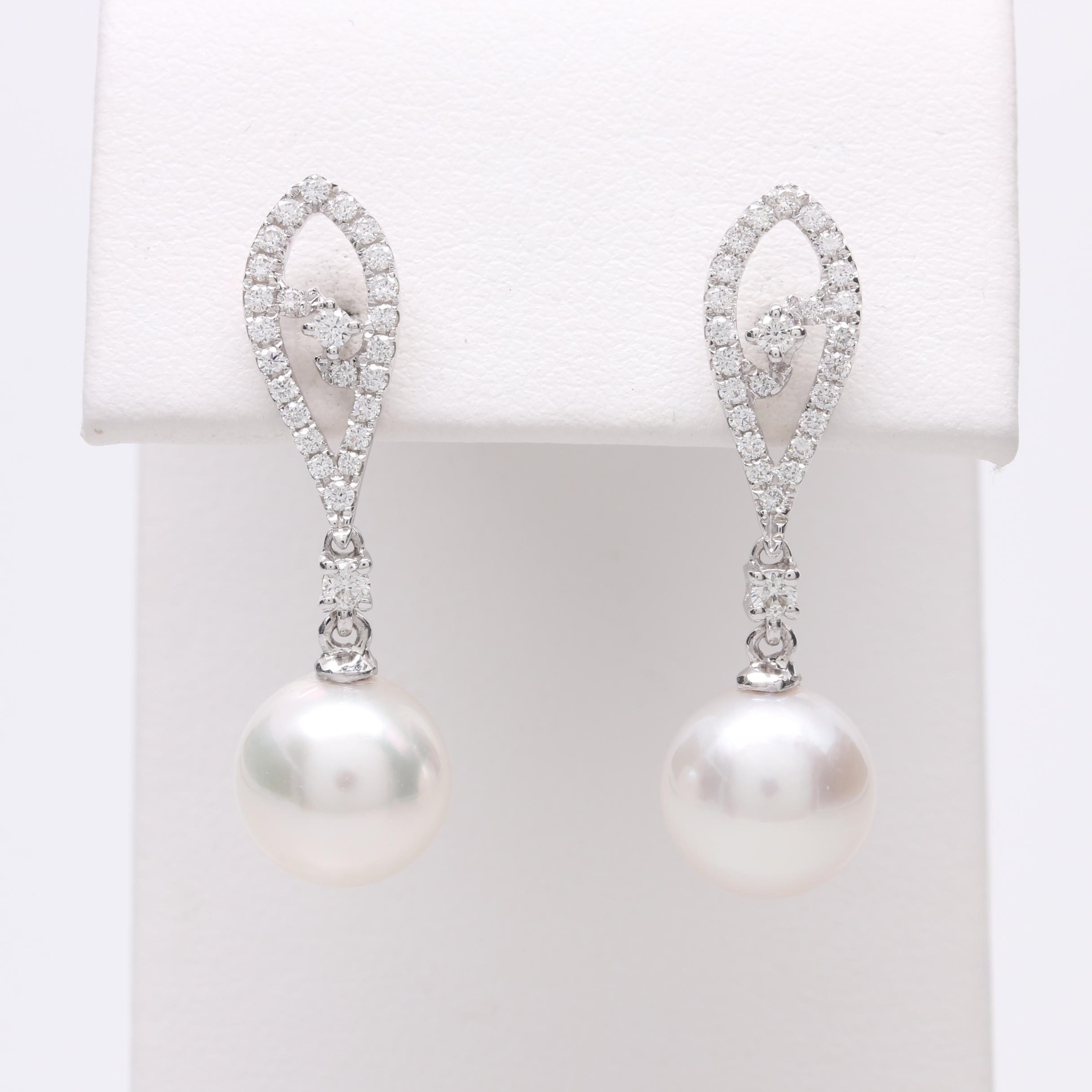 Tara Pearl 18K White Gold Cultured Pearl and Diamond Dangle Earrings