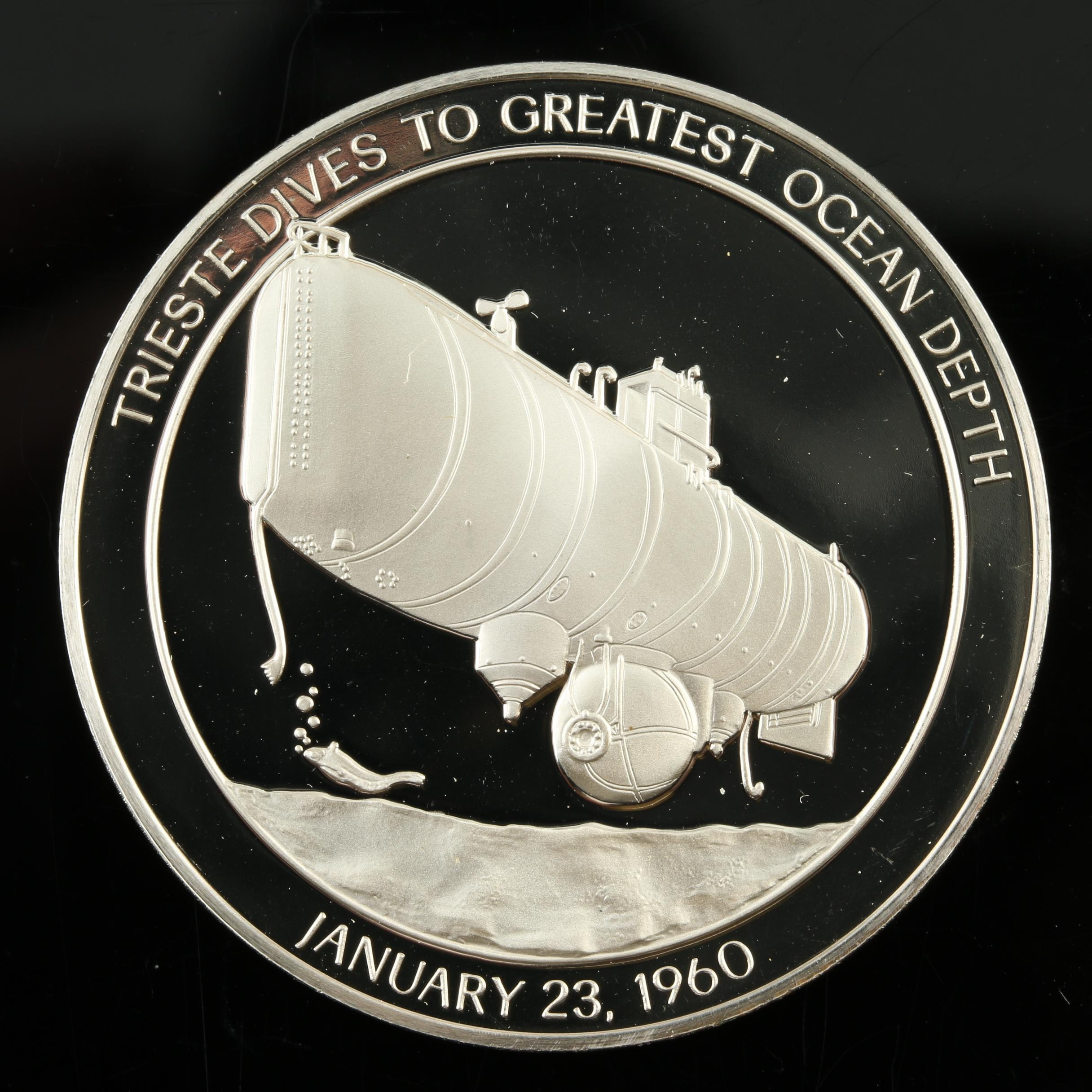 Sterling Silver Medal Commemorating Submersible Trieste Dive in 1960