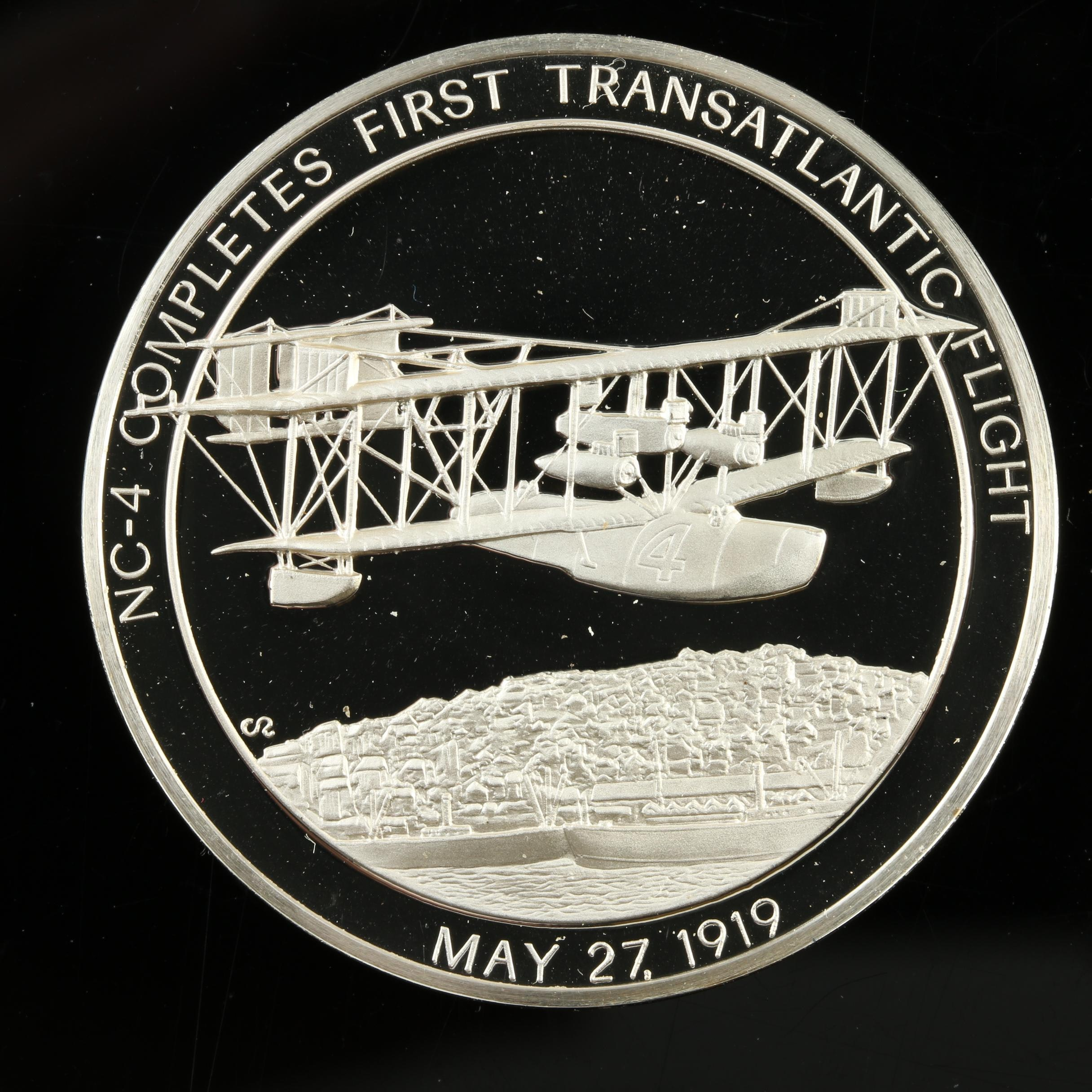 Sterling Silver Medal Commemorating NC-4 Completing First Trans-Atlantic Flight