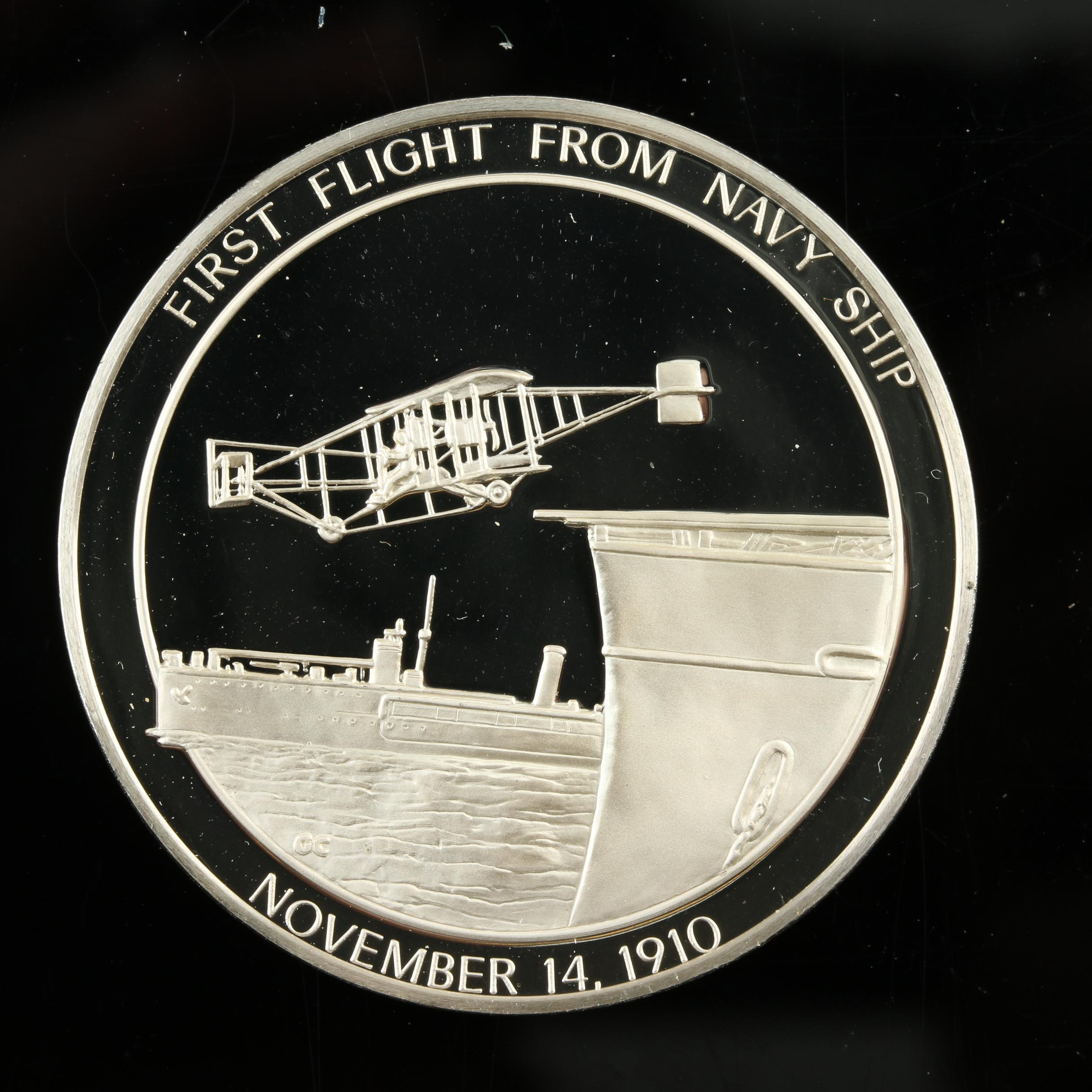 Sterling Silver Medal Commemorating First Flight from a Navy Ship in 1910