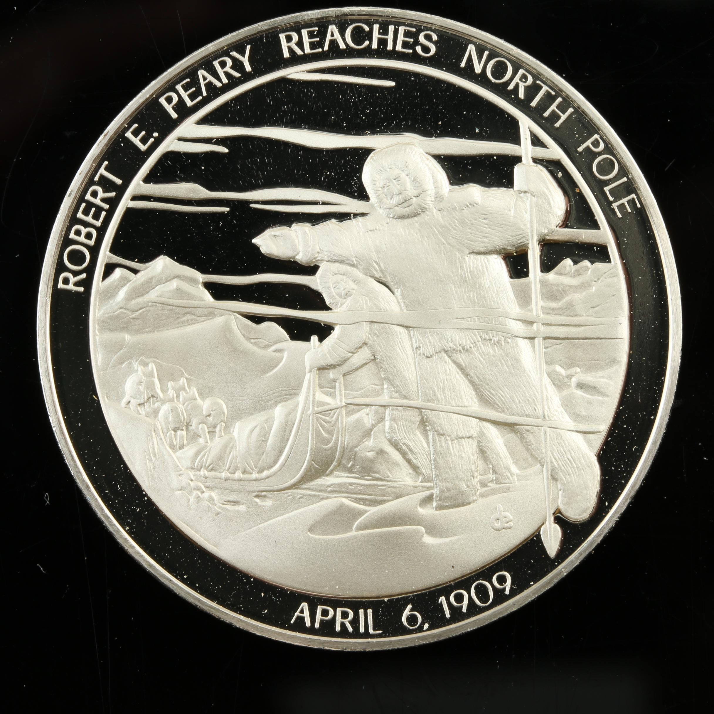 Sterling Silver Medal Commemorating Peary Reaching North Pole in 1909